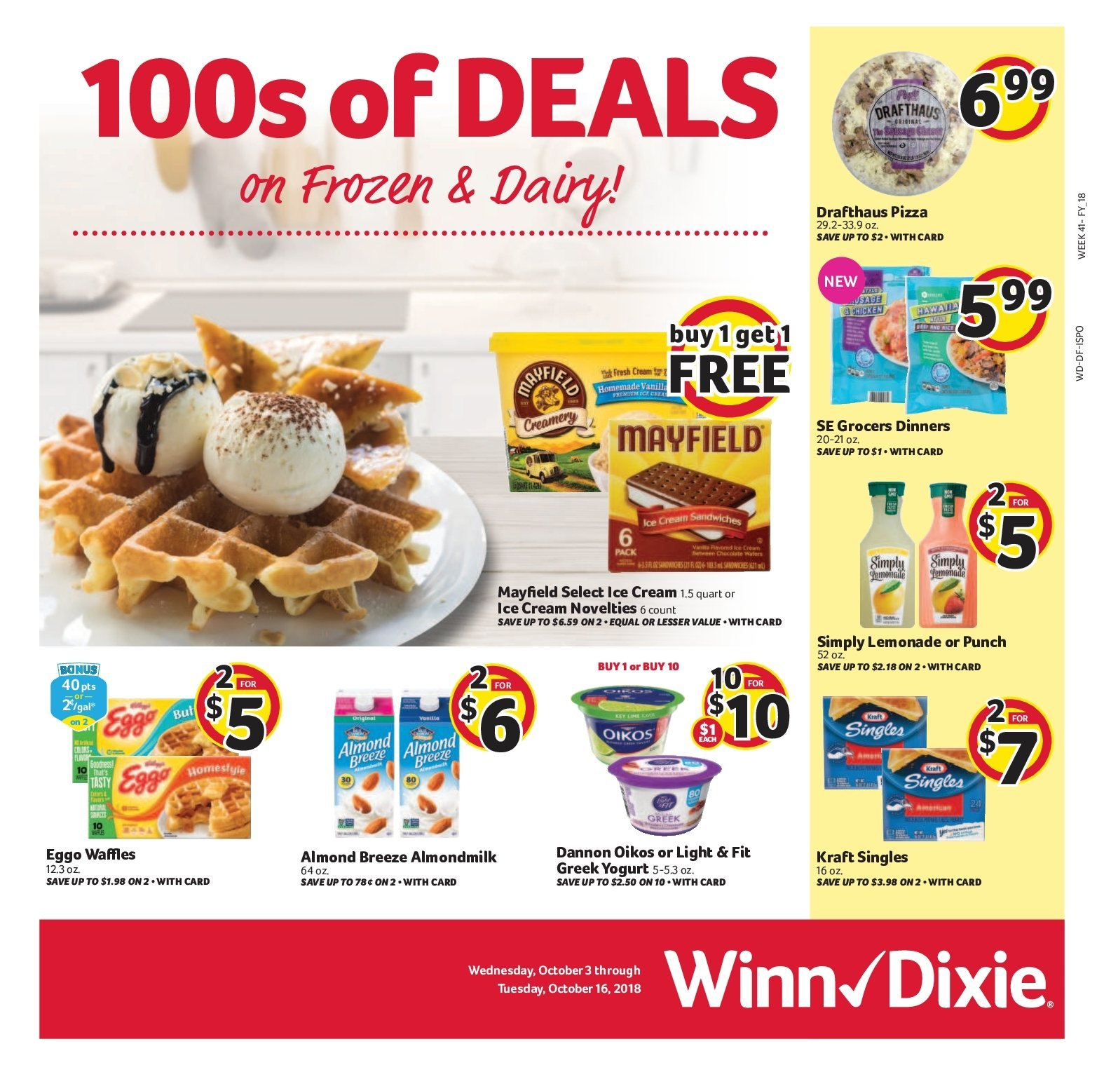 Winn Dixie Flyer - 10.03.2018 - 10.16.2018 - Sales products - pizza, greek yoghurt, ice cream, lemonade, punch. Page 1.