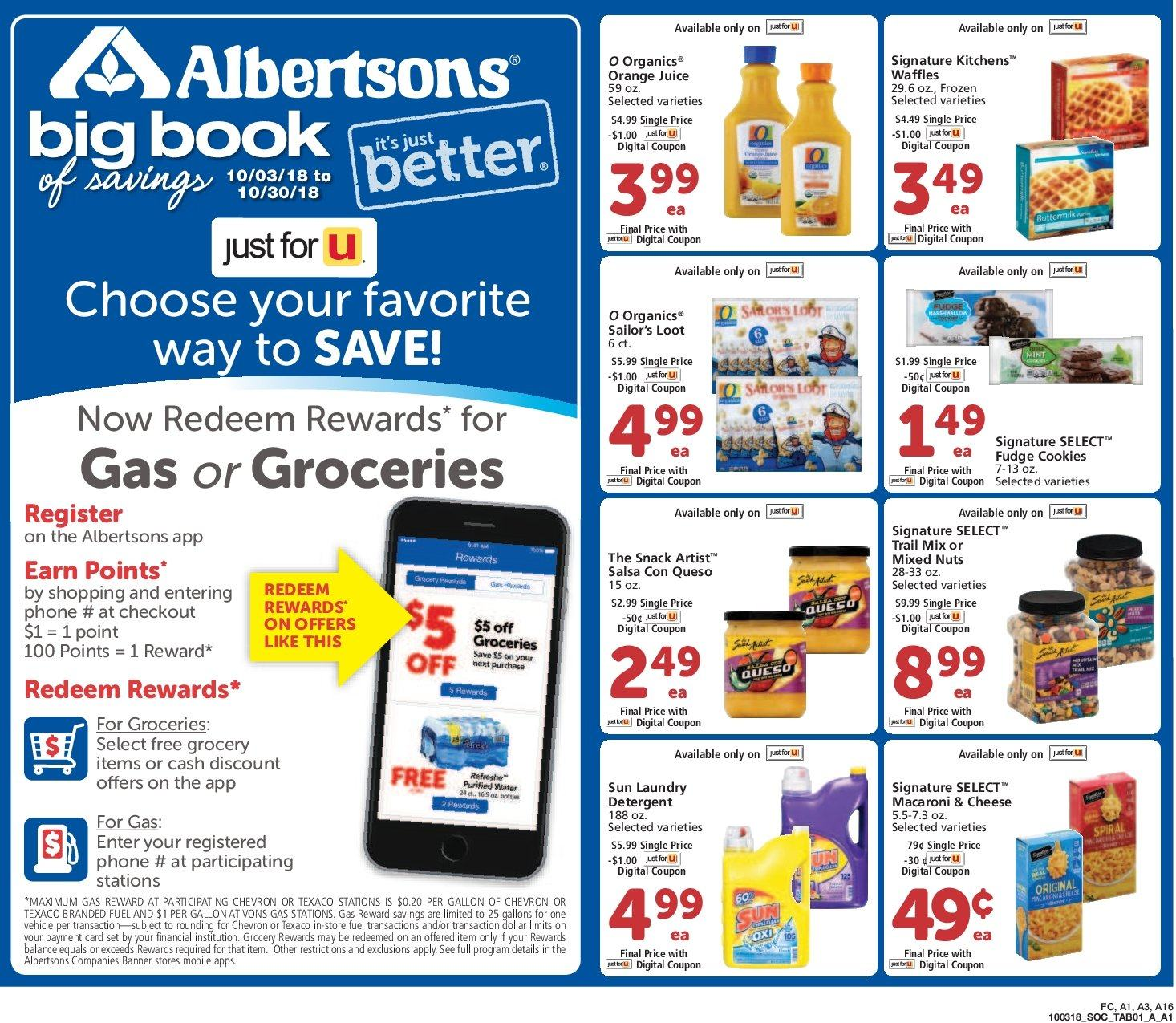 Albertsons Flyer - 10.03.2018 - 10.30.2018 - Sales products - cookies, detergent, frozen, fudge, fuel, macaroni & cheese, orange juice. Page 1.