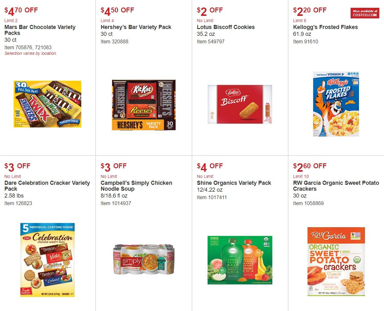 Costco Flyer - 10.03.2018 - 10.28.2018 - Sales products - bag, campbell's, cookies, crackers, sweet potatoes, kale, parsley, noodle, organic, chocolate. Page 9.
