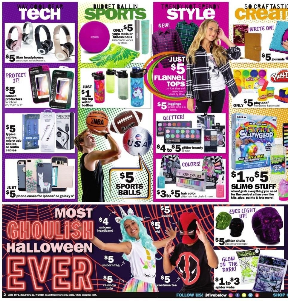 Five Below Flyer - 10.05.2018 - 10.07.2018 - Sales products - flannel, galaxy, glitter, tee, top, usb. Page 2.