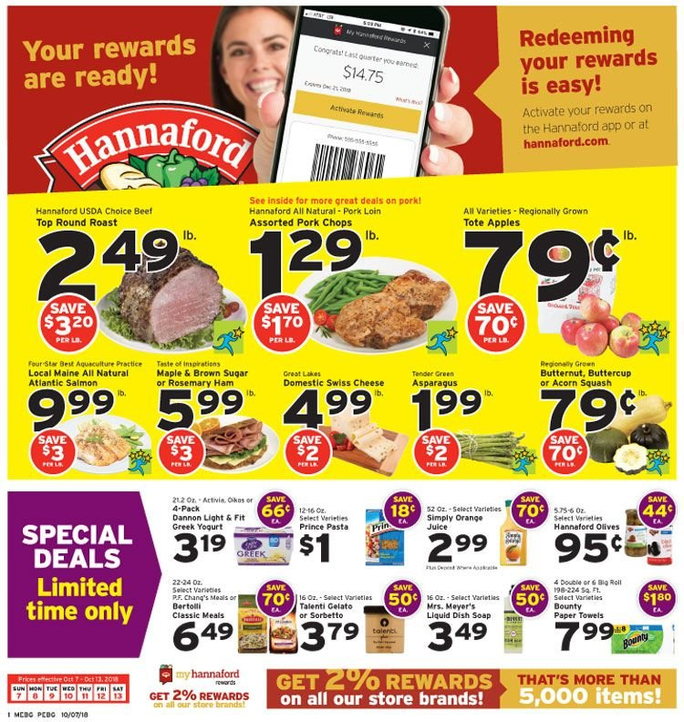 Hannaford Flyer  - 10.07.2018 - 10.13.2018. Page 1.