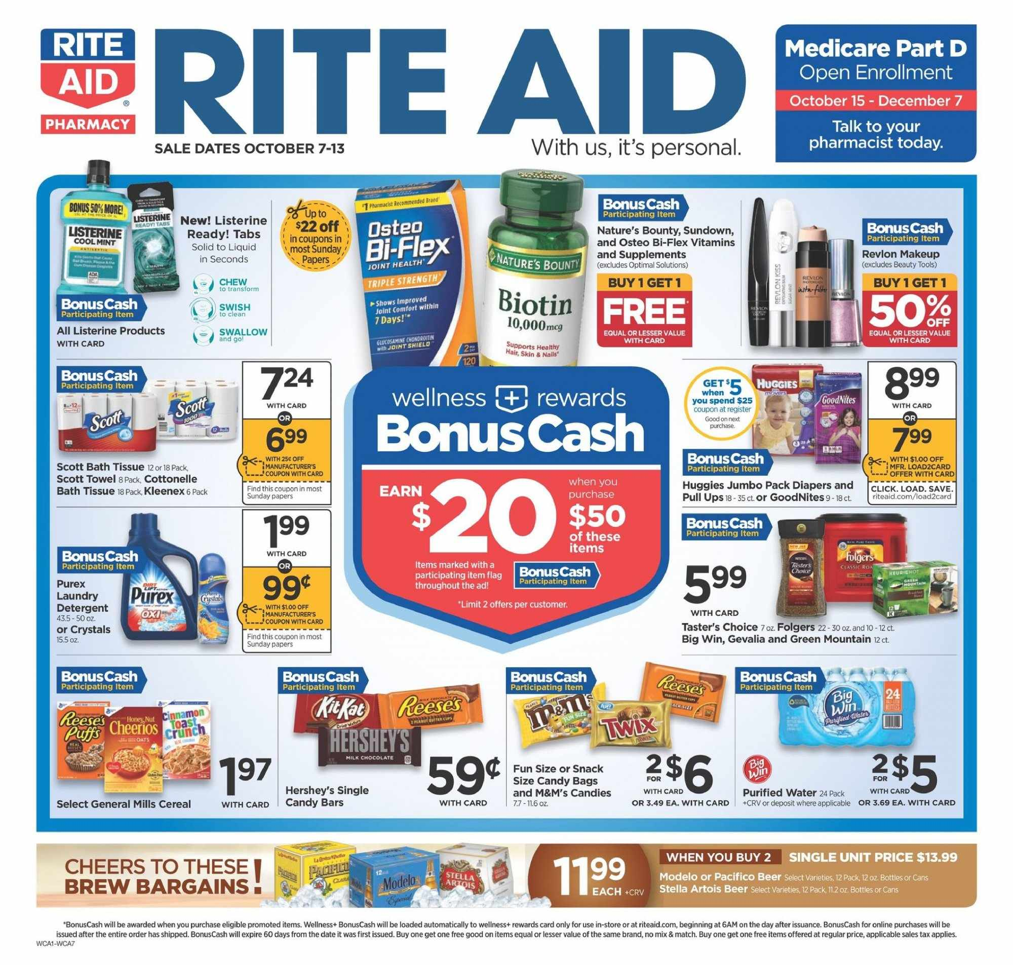 RITE AID Flyer - 10.07.2018 - 10.13.2018 - Sales products - bag, bath, bath tissue, beer, biotin, cottonelle, dates, detergent, kleenex, listerine, makeup, mint, nature's bounty, revlon, scott, shield, solid, stella artois, towel, huggies, oats, osteo bi-flex. Page 1.