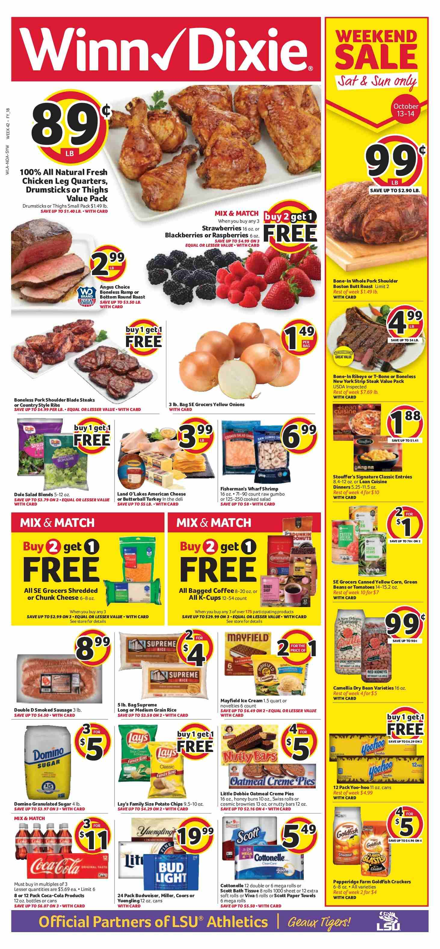 Winn Dixie Flyer - 10.10.2018 - 10.16.2018 - Sales products - Budweiser, Bud Light, Coors, corn, green beans, tomatoes, yellow onions, onion, Dole, blackberries, raspberries, strawberries, rolls, brownie, Butterball, turkey, chicken, steak, pork meat, pork shoulder, sausage, american cheese, cheese, ice cream, beans, cracker, crackers, potato chips, chips, Lay's, oatmeal, honey, Coca-Cola, bath tissue, Cottonelle, paper towel. Page 1.