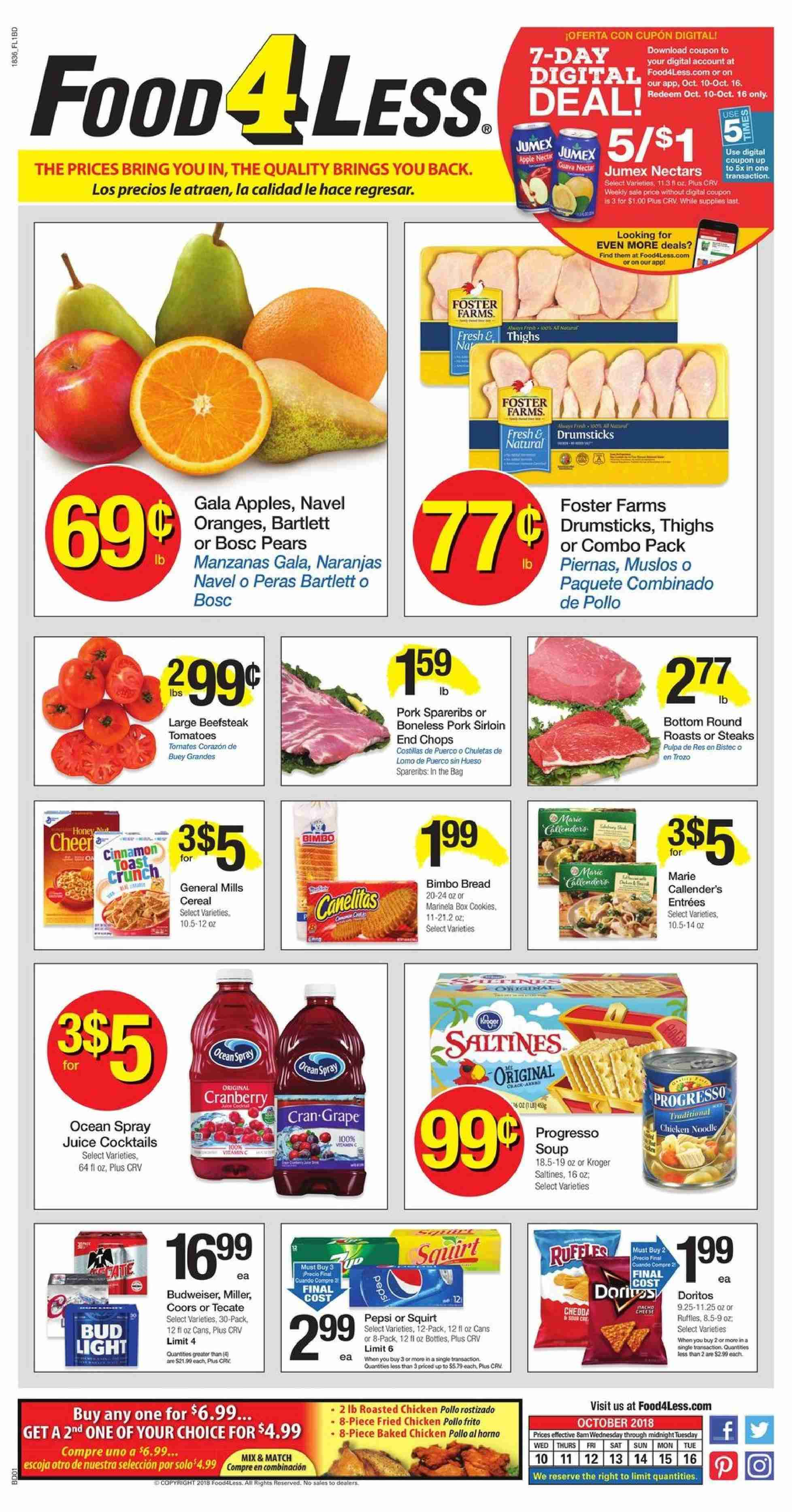Food 4 Less Flyer - 10.10.2018 - 10.16.2018 - Sales products - Bud Light, Coors, tomatoes, Gala, pears, orange, bread, soup, fried chicken, cookies, cranberries, cereals, juice, chicken, pork meat, box. Page 1.