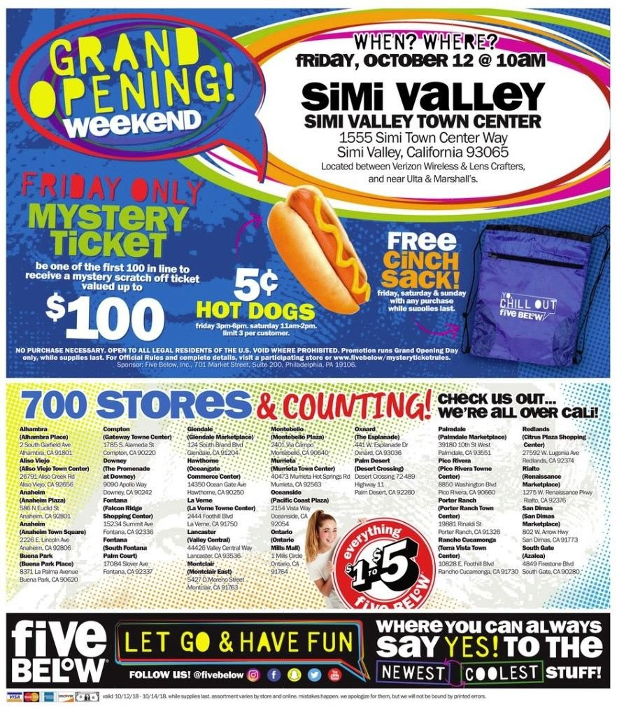 Five Below Flyer - 10.12.2018 - 10.14.2018 - Sales products - always, firestone, grand, lens, hot dog, philadelphia. Page 4.