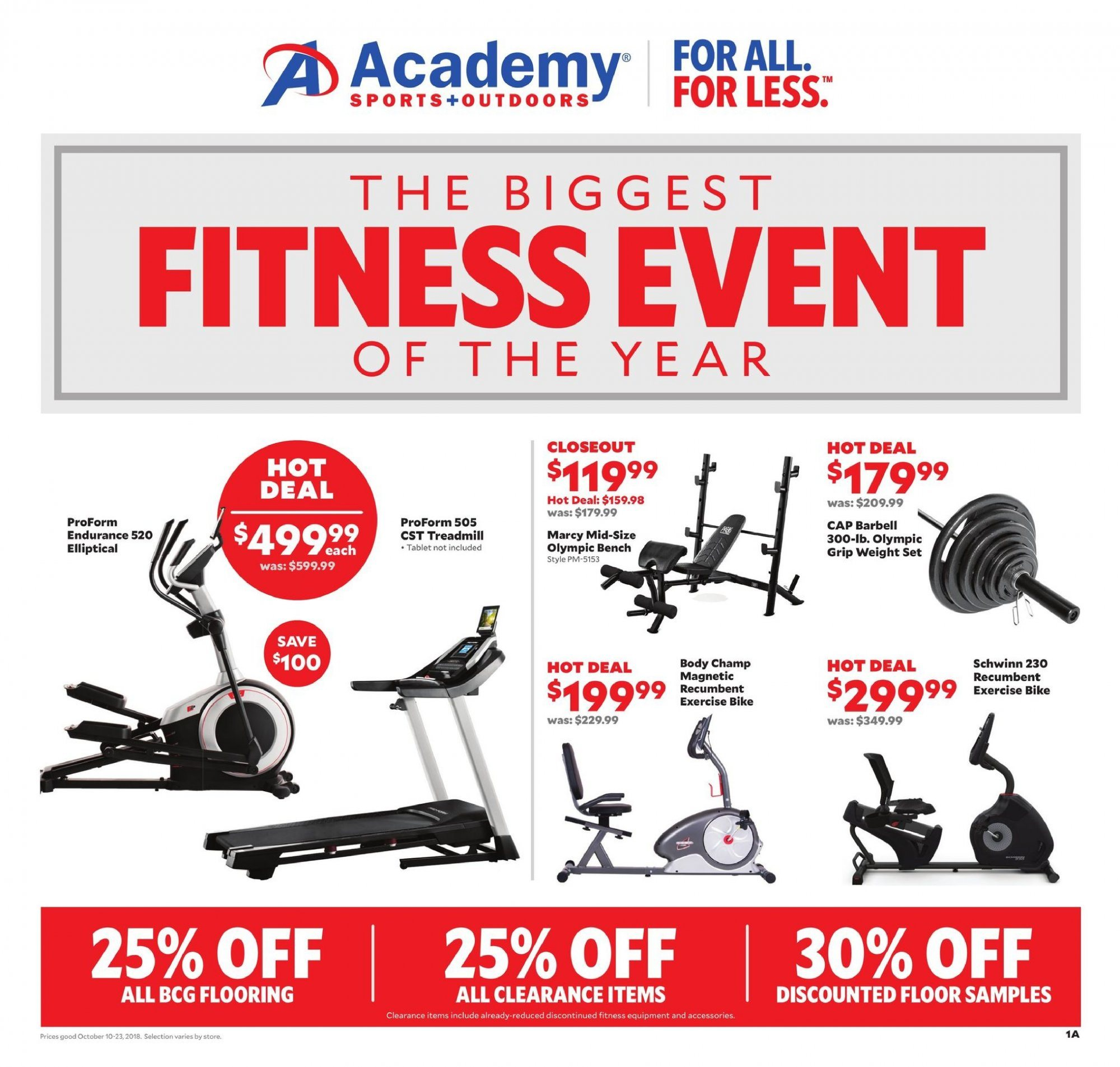 Academy Sports Flyer - 10.10.2018 - 10.23.2018 - Sales products - accessories, bench, bike, cap, flooring, tablet, proform. Page 1.