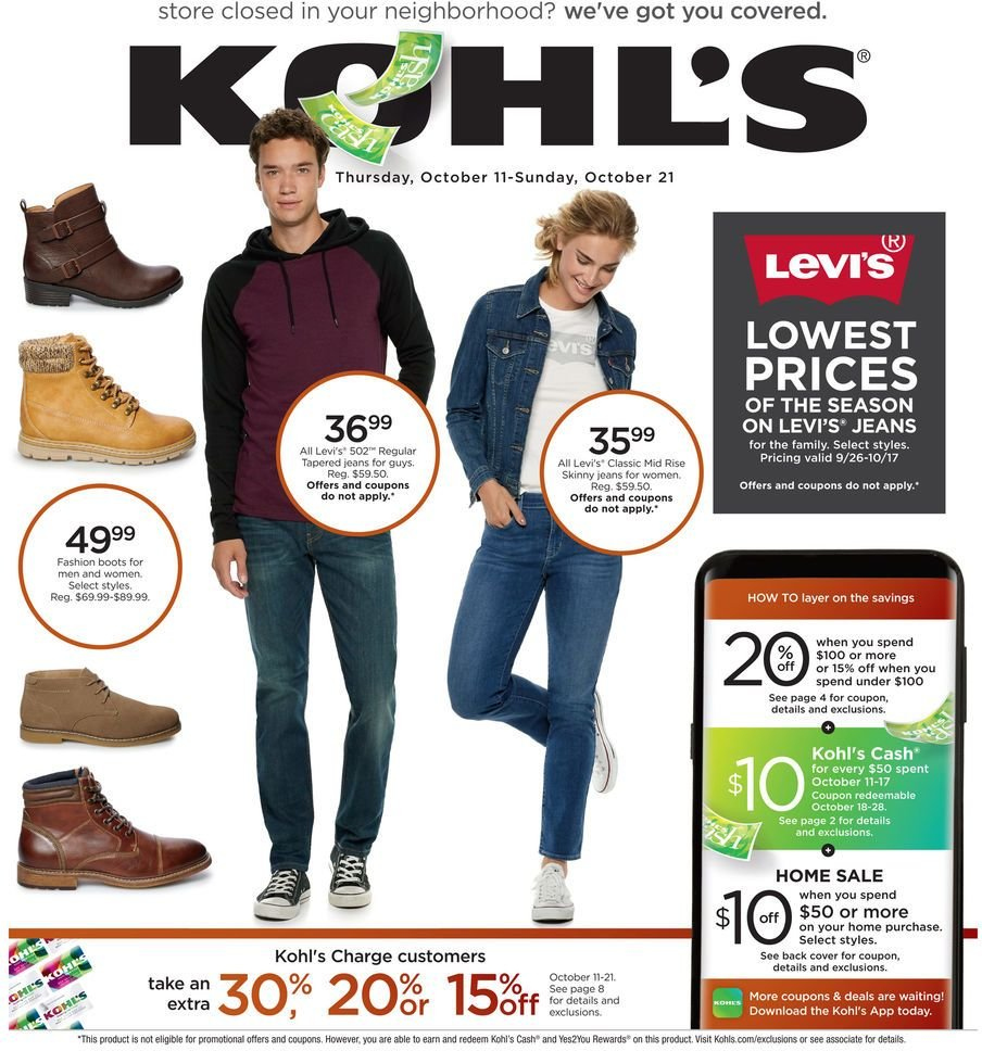 Kohl's Flyer - 10.11.2018 - 10.21.2018 - Sales products - boots, cover, jeans. Page 1.