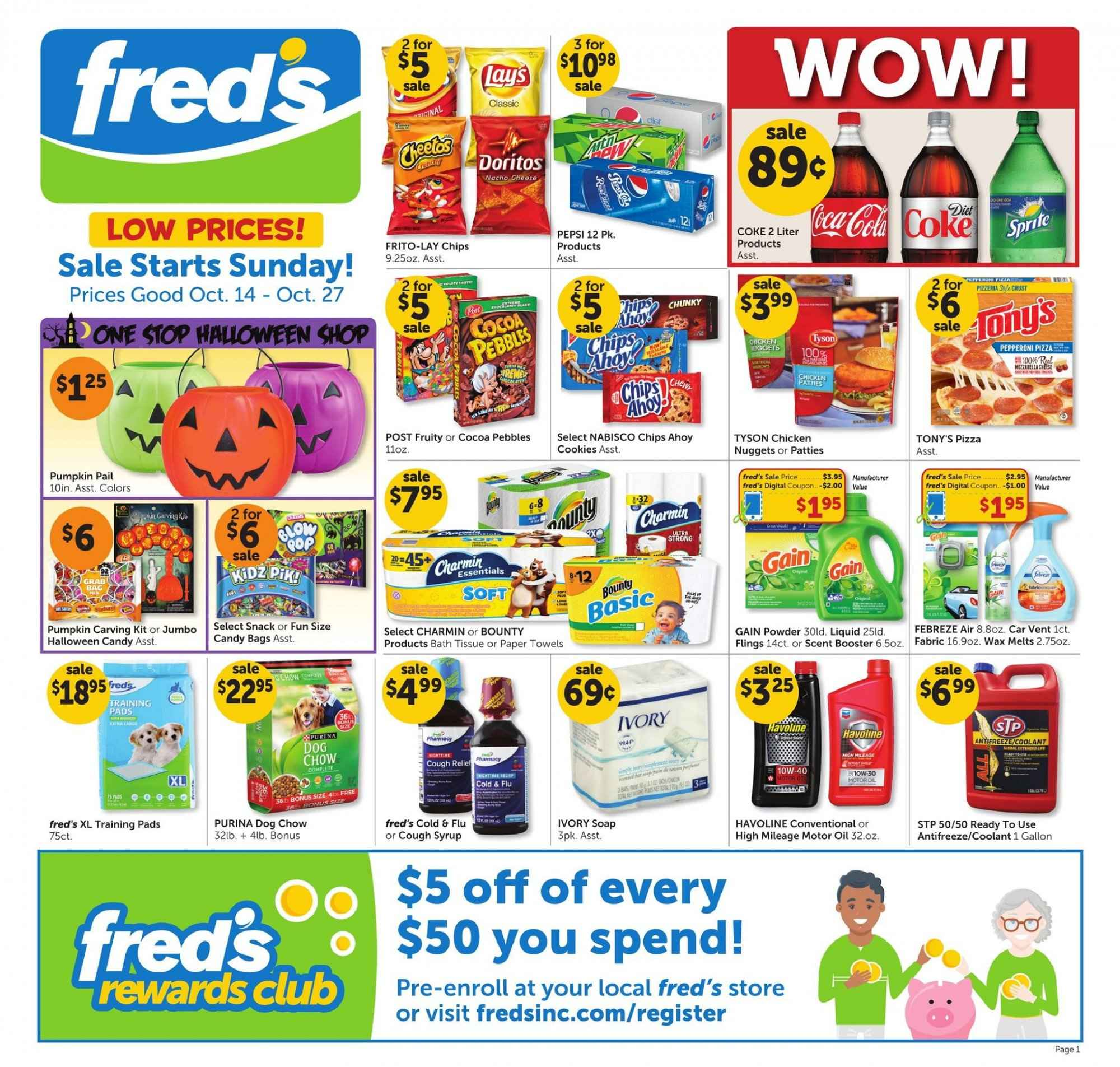 fred's Flyer - 10.14.2018 - 10.27.2018 - Sales products - bag, bath, bath tissue, cocoa, cookies, dog chow, doritos, cold & flu, febreze, gain, motor oil, towel, pizza, powder, pumpkin, purina, chicken, paper towel, pepperoni, pepsi, pads, chow, chips. Page 1.
