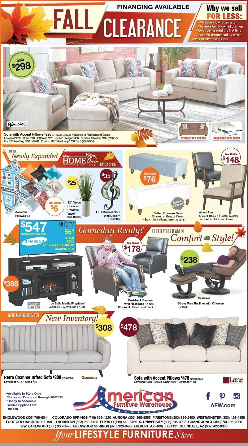American Furniture Warehouse Flyer  - 10.14.2018 - 10.20.2018. Page 1.