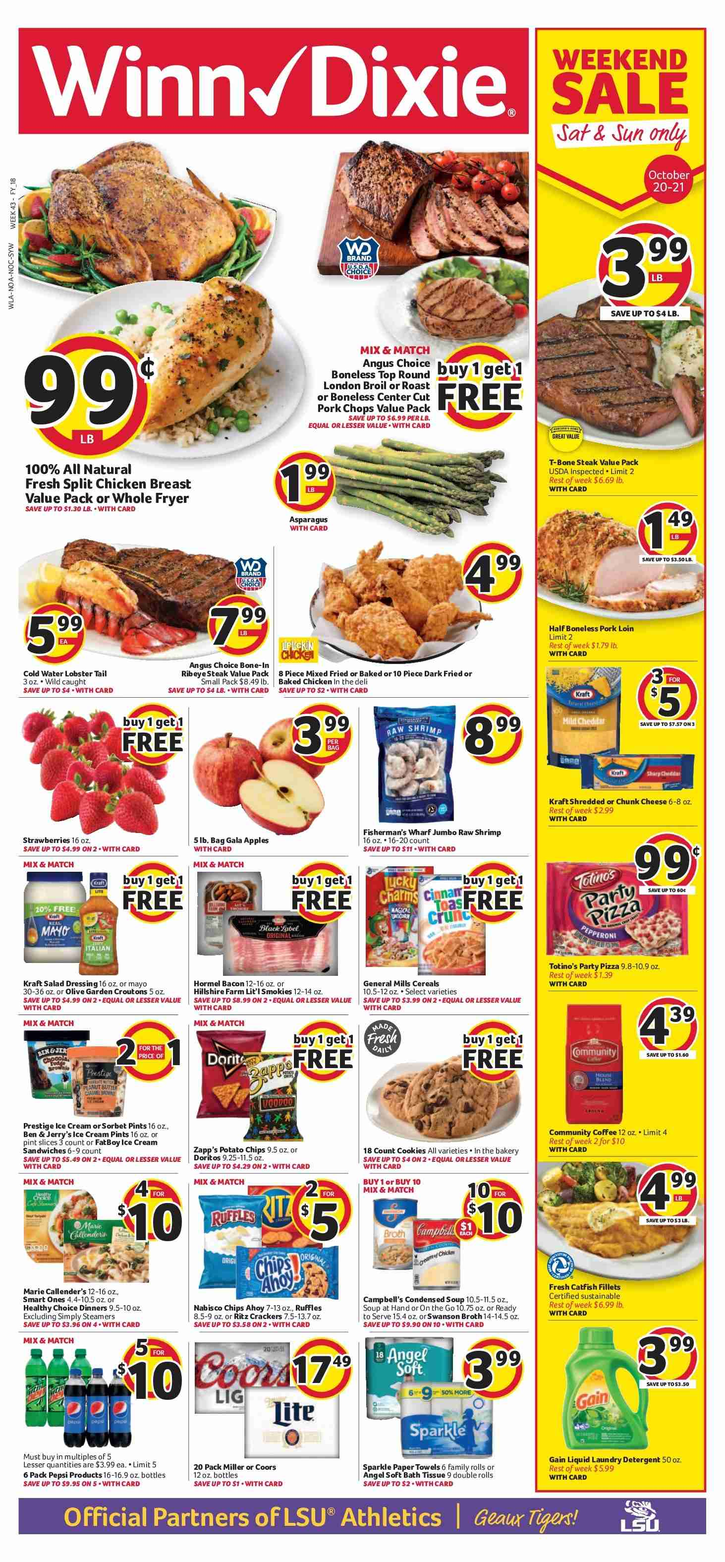 Winn Dixie Flyer - 10.17.2018 - 10.23.2018 - Sales products - apples, asparagus, bacon, bag, catfish, cereals, coffee, cookies, croutons, detergent, doritos, fryer, gain, gala apples, lobster, salad dressing, shrimp, hillshire farm, ice cream, pizza, pork chops, pork loin, pork meat, potato chips, chicken, pepsi, chips. Page 1.