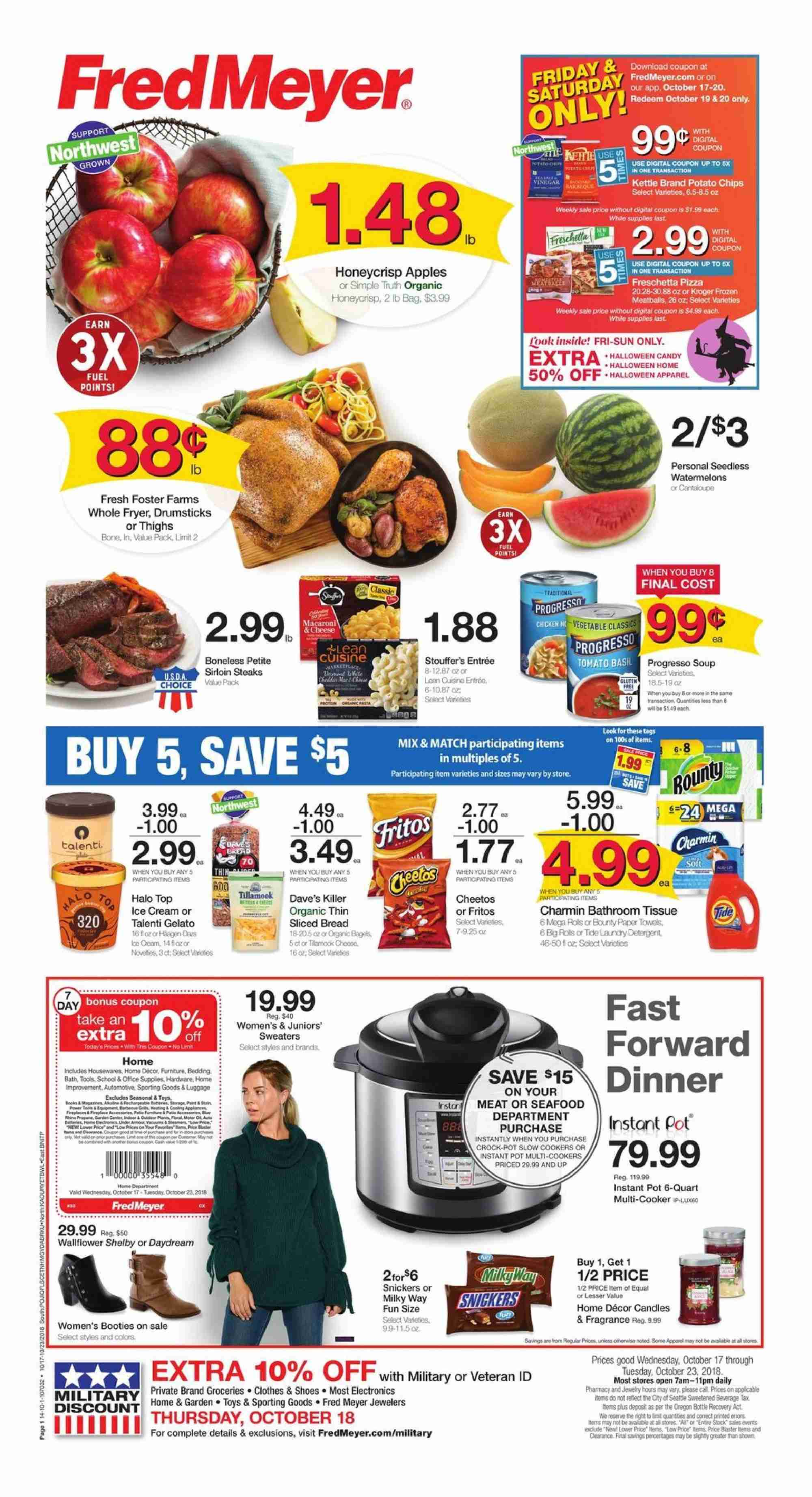 Fred Meyer Flyer - 10.17.2018 - 10.23.2018 - Sales products - tomatoes, apples, bread, seafood, cheese, candy, Milky Way, Snickers, potato chips, chips, Fritos, detergent, Tide, fragrance, tools, pot, Frozen, candle, bedding collection, toys. Page 1.