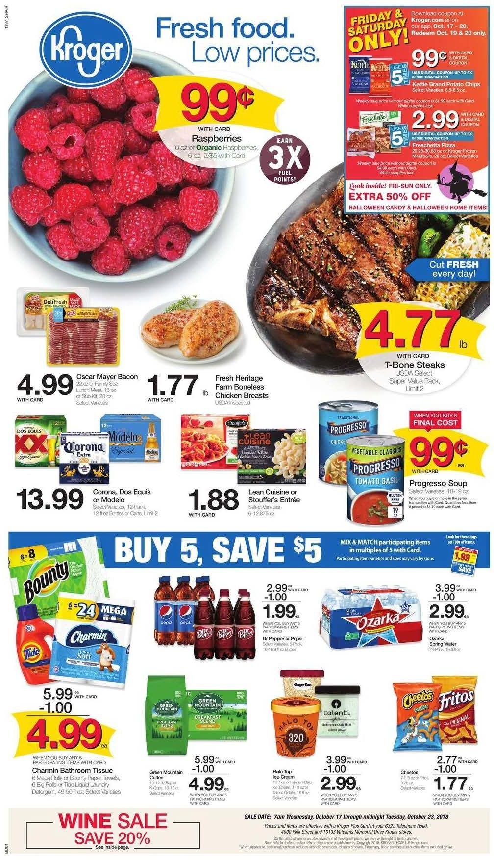 Kroger Flyer - 10.17.2018 - 10.23.2018 - Sales products - bacon, bathroom, detergent, frozen, fuel, raspberries, t-bone steak, towel, ice cream, polk, potato chips, chicken, chicken breast, paper towel, organic, chips, meatballs. Page 1.