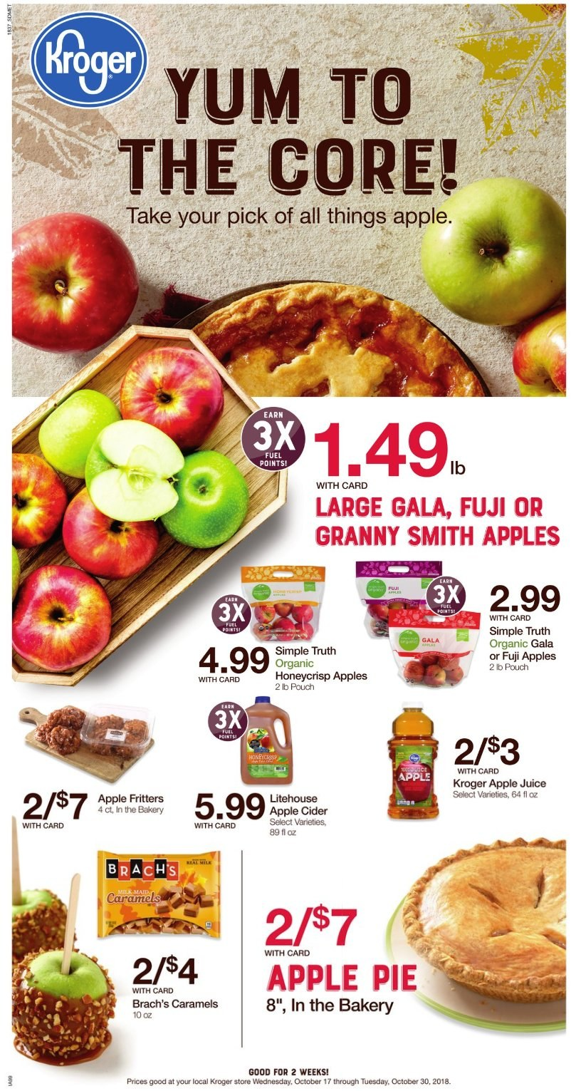 Kroger Flyer - 10.17.2018 - 10.30.2018 - Sales products - fuji apple, apple pie, pie, apple juice, juice, apple cider, fuel. Page 1.