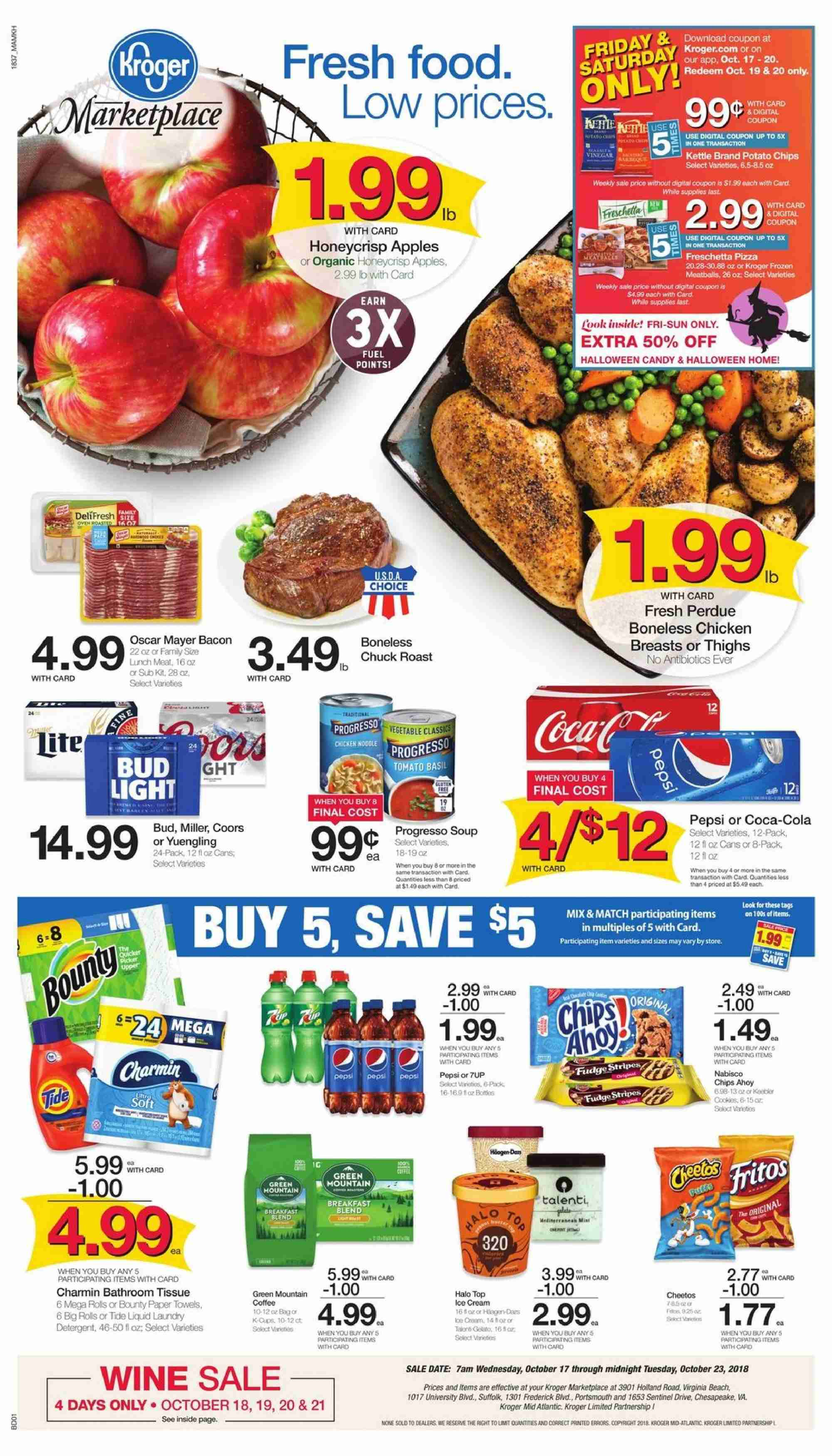 Kroger Flyer - 10.18.2018 - 10.23.2018 - Sales products - apples, bacon, bathroom, coca-cola, detergent, frozen, fuel, tide, towel, ice cream, potato chips, chicken, chicken breast, paper towel, pepsi, noodle, chips. Page 1.