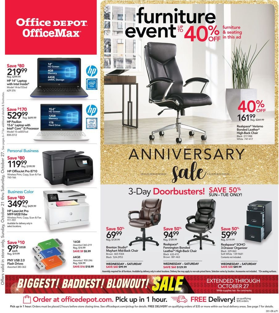 Office DEPOT Flyer  - 10.21.2018 - 10.27.2018. Page 1.