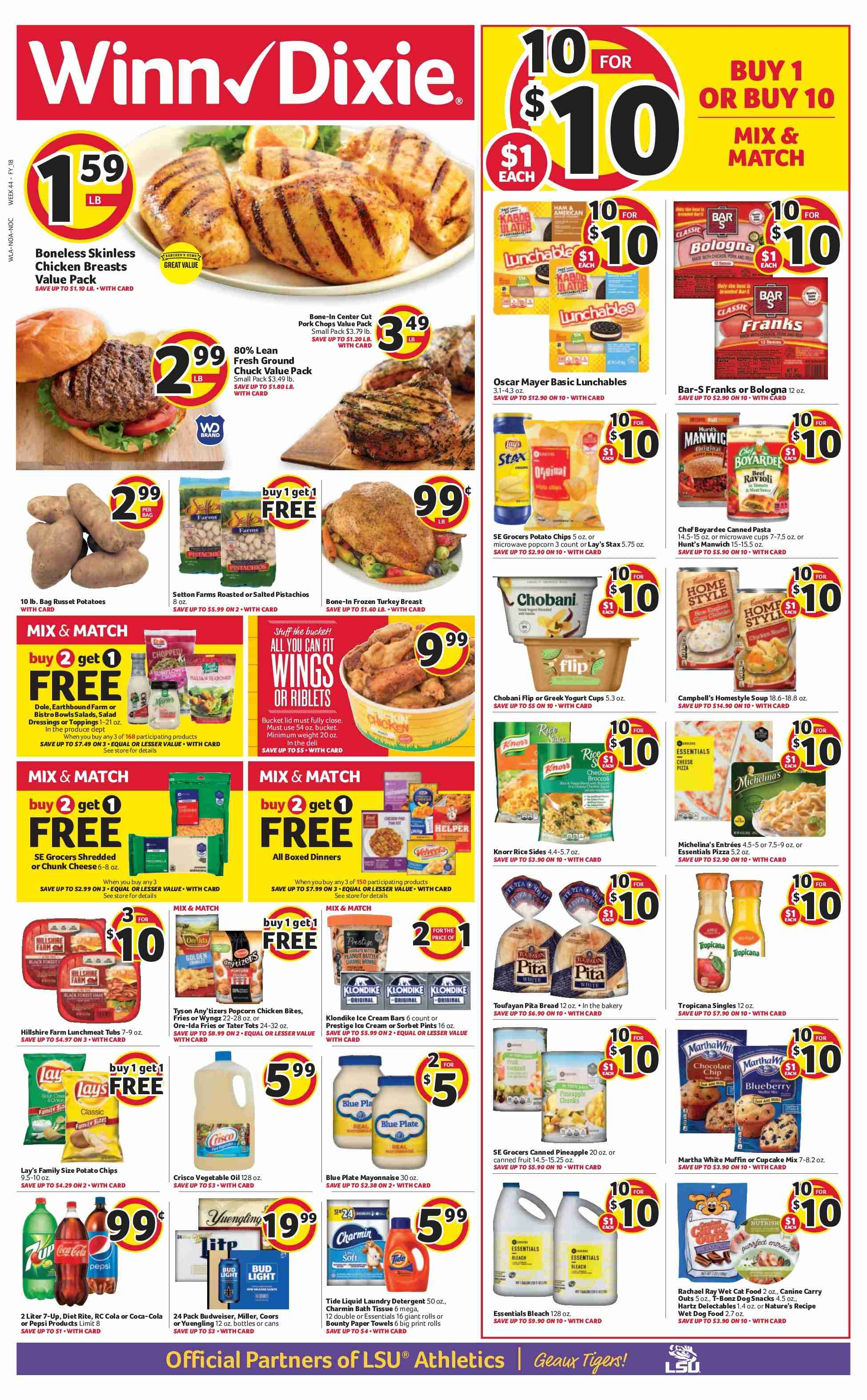 Winn Dixie Flyer - 10.24.2018 - 10.30.2018 - Sales products - animal food, bag, bath, bath tissue, bowl, budweiser, campbell's, cat food, coca-cola, cupcake, cupcakes, detergent, frozen, frozen turkey, greek yogurt, lunchmeat, microwave, ravioli, rice, russet potatoes, towel, turkey, turkey breast, yogurt, ice cream, ice cream bars, pita, pizza, plate, popcorn, potato chips, potatoes, chicken, paper towel, pepsi, chips. Page 1.