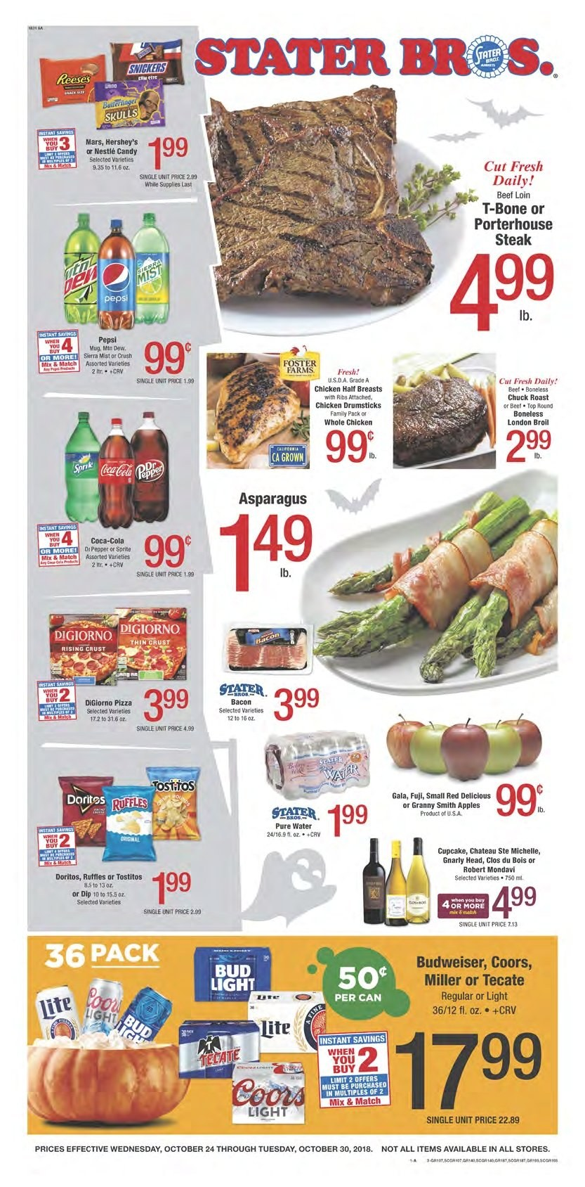 Stater Bros. Flyer  - 10.24.2018 - 10.30.2018. Page 1.