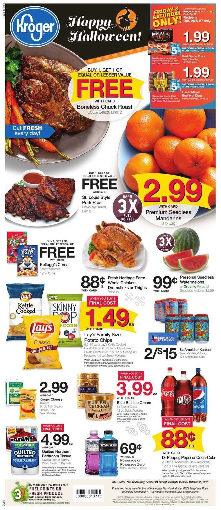Kroger Flyer - 10.24.2018 - 10.30.2018 - Sales products - deer, corn, melons, pizza, cheese, ice cream, potato chips, chips, Lay's, cereals, pepper, Coca-Cola, Mountain Dew, Pepsi, Dr. Pepper, beef meat, pork meat, paper towel, Quilted Northern, kettle, fuel. Page 1.