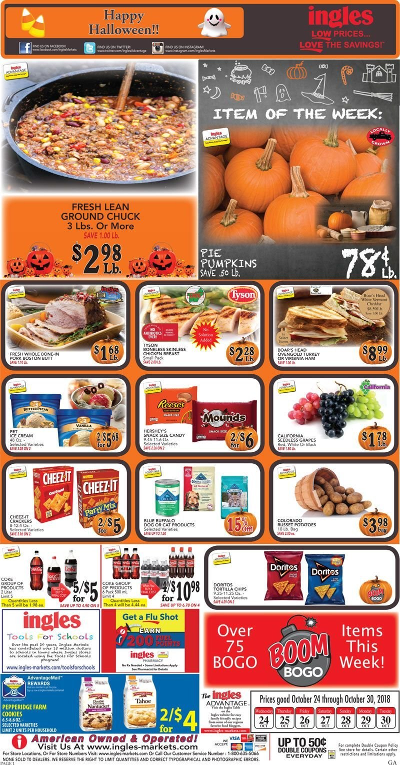 Ingles Flyer  - 10.24.2018 - 10.30.2018. Page 1.