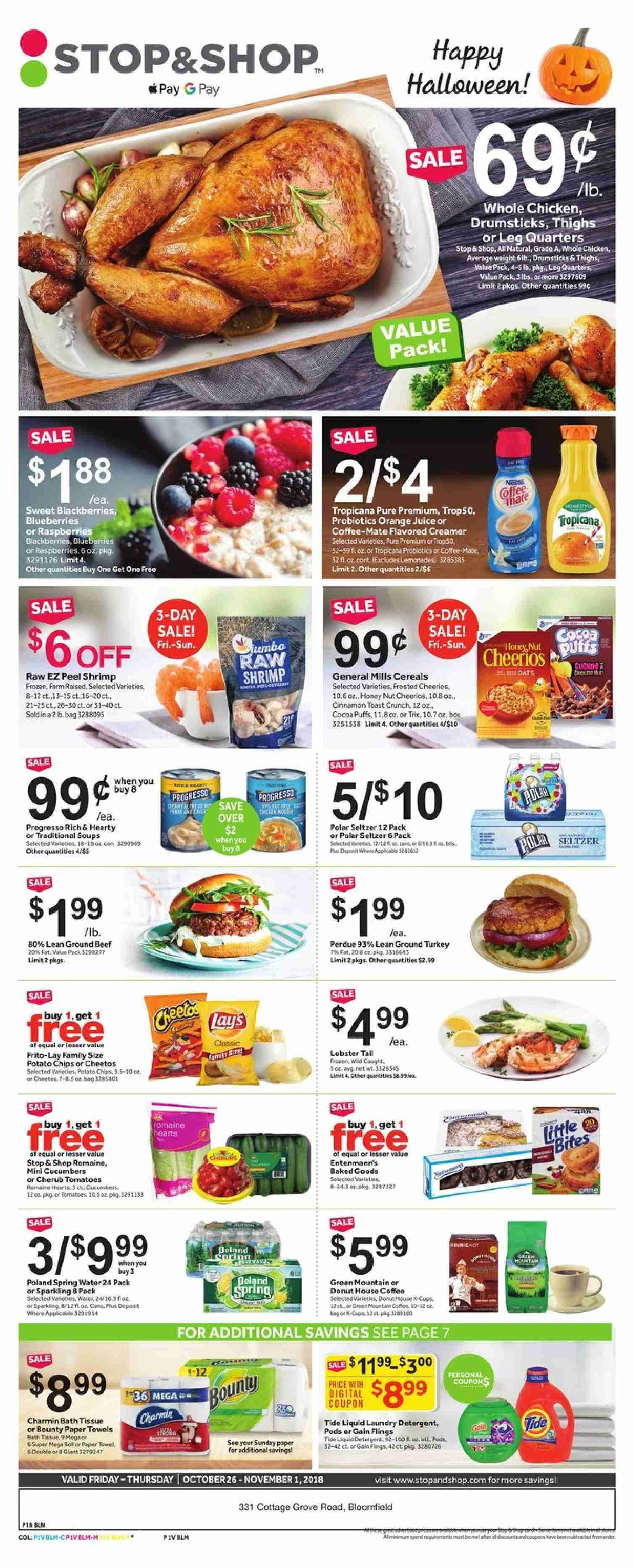 Stop & Shop Flyer  - 10.26.2018 - 11.01.2018. Page 1.