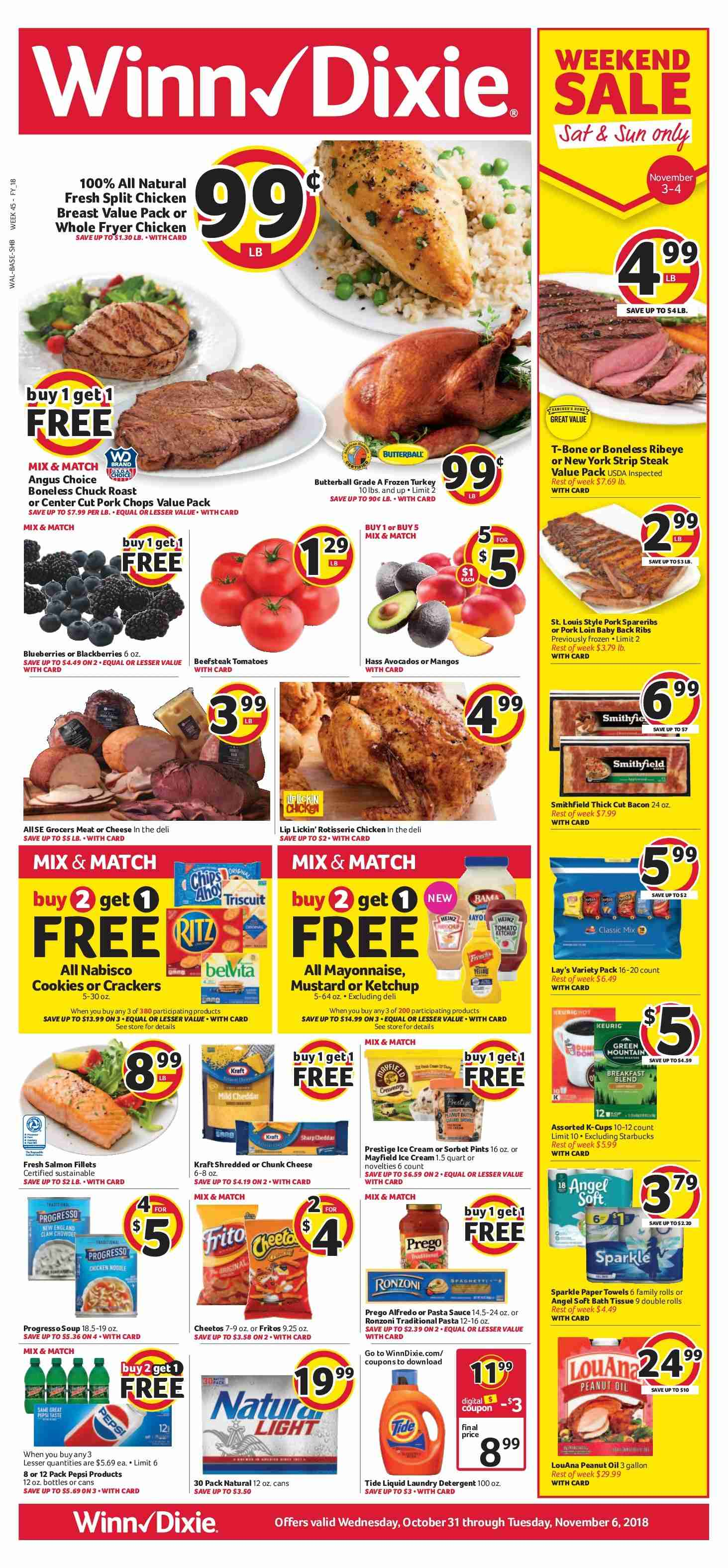 Winn Dixie Flyer - 10.31.2018 - 11.06.2018 - Sales products - alfredo sauce, angel, baby back pork ribs, bacon, bath, bath tissue, blackberries, blueberries, cookies, crackers, detergent, fritos, frozen, fryer, mayonnaise, mustard, salmon, starbucks, tide, tomatoes, towel, ice cream, ketchup, pork chops, pork loin, pork meat, cheetos, chicken, paper towel, pasta sauce, peanut oil, peanuts, pepsi. Page 1.