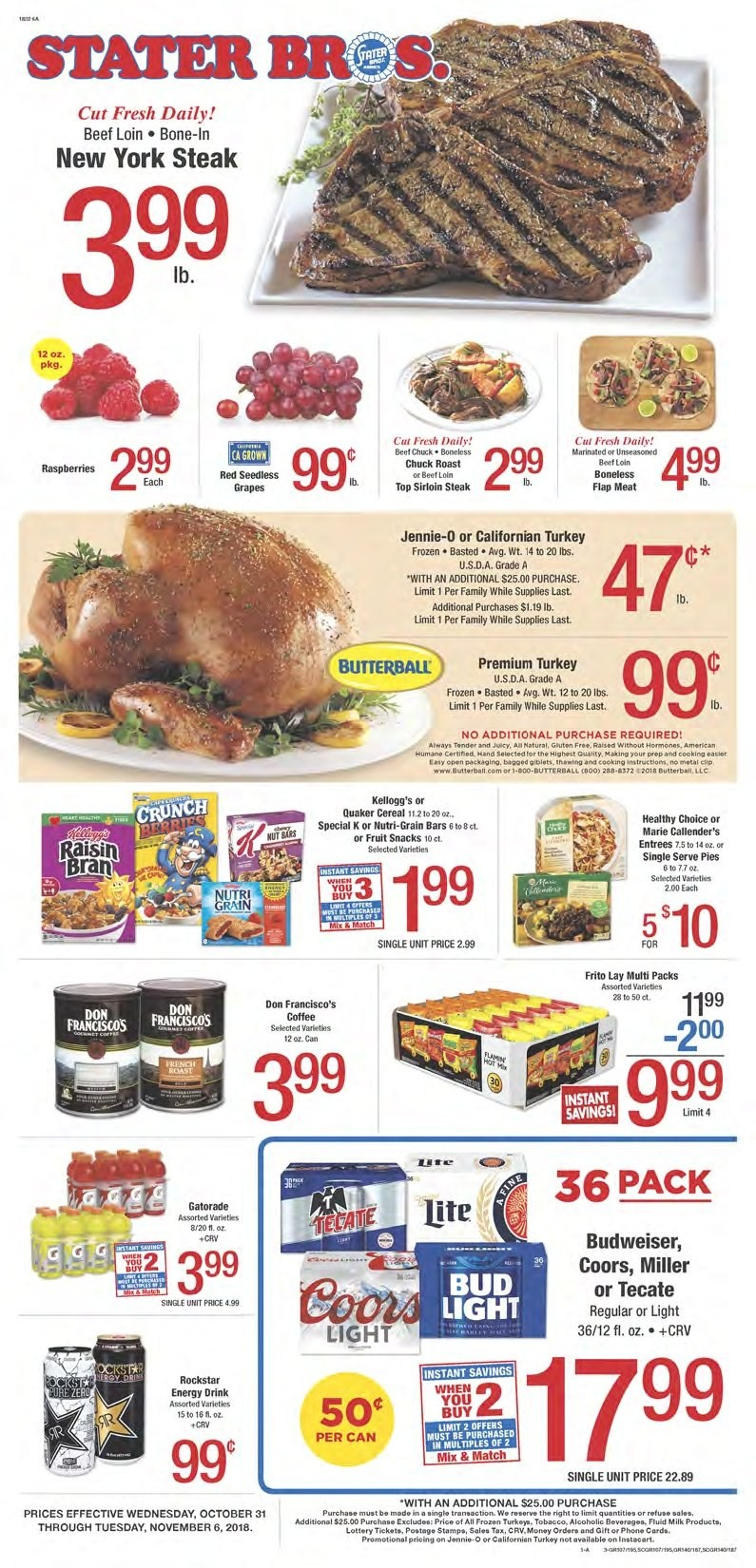 Stater Bros. Flyer  - 10.31.2018 - 11.06.2018. Page 1.