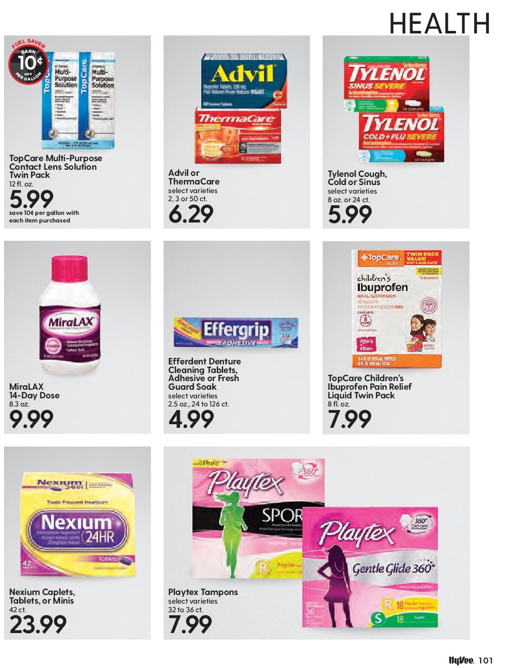 Hy-Vee Flyer - 11.01.2018 - 12.02.2018 - Sales products - advil, lens, miralax, thermacare, tylenol, playtex, pain relief. Page 103.