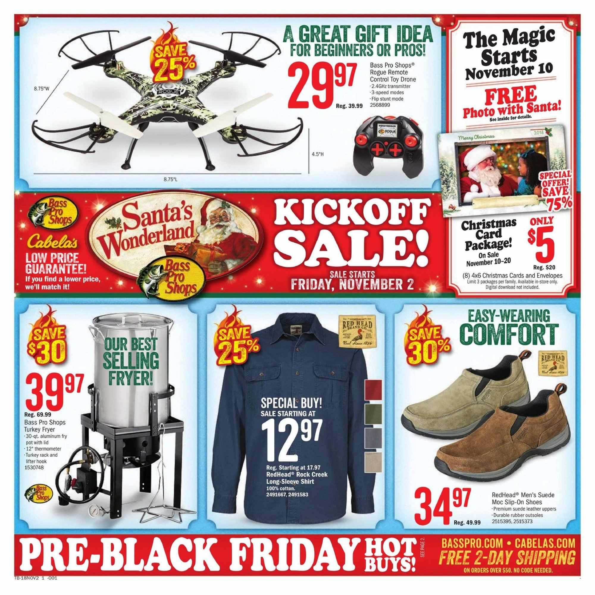Cabela's Flyer - 11.02.2018 - 11.20.2018 - Sales products - shoes, slip-on shoes, long-sleeve shirt, shirt, Bass Pro, rubber. Page 1.