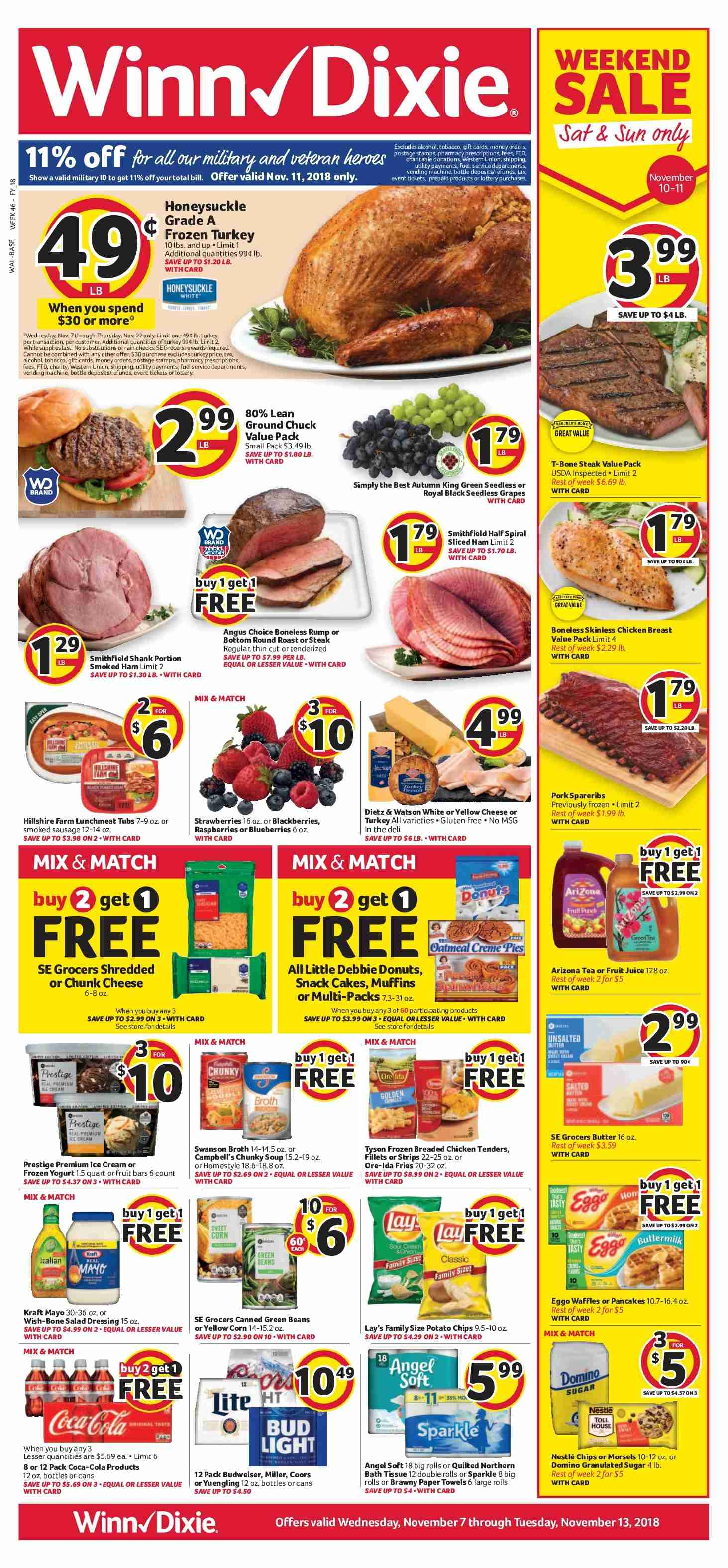 Winn Dixie Flyer - 11.07.2018 - 11.13.2018 - Sales products - Budweiser, Bud Light, Coors, Yuengling, corn, green beans, blackberries, blueberries, grapes, raspberries, seedless grapes, strawberries, rolls, cake, donut, pancake, muffin, turkey, chicken, chicken breast, chicken tenders, steak, Campbell's, soup, ham, Hillshire Farm, smoked ham, sausage, smoked sausage, cheese, butter, ice cream, beans, potato chips, chips, snack, Lay's, Coca-Cola, bath tissue, paper towel, Quilted Northern, muffins. Page 1.