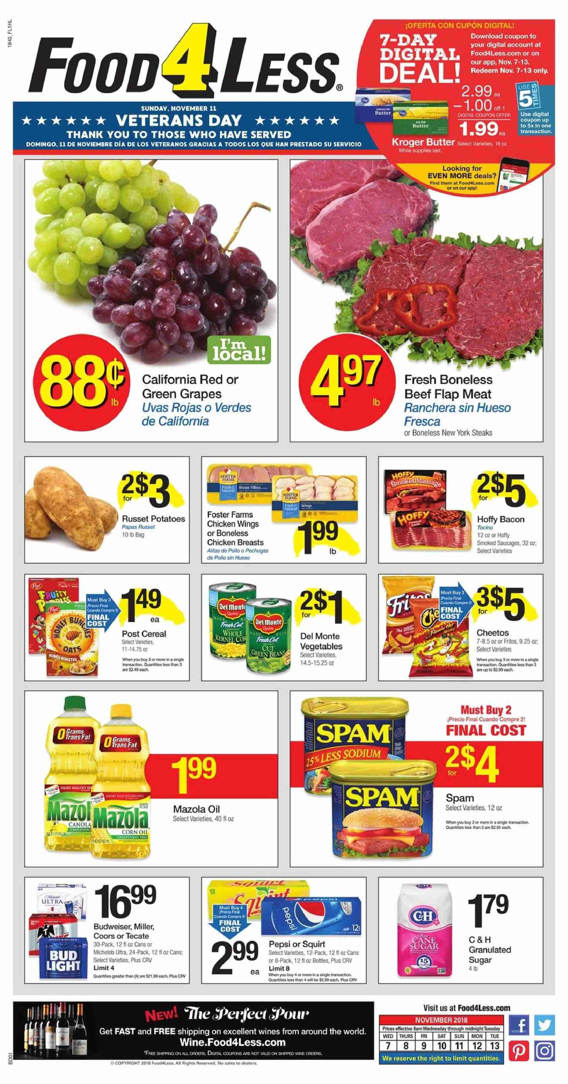 Food 4 Less Flyer  - 11.07.2018 - 11.13.2018. Page 1.