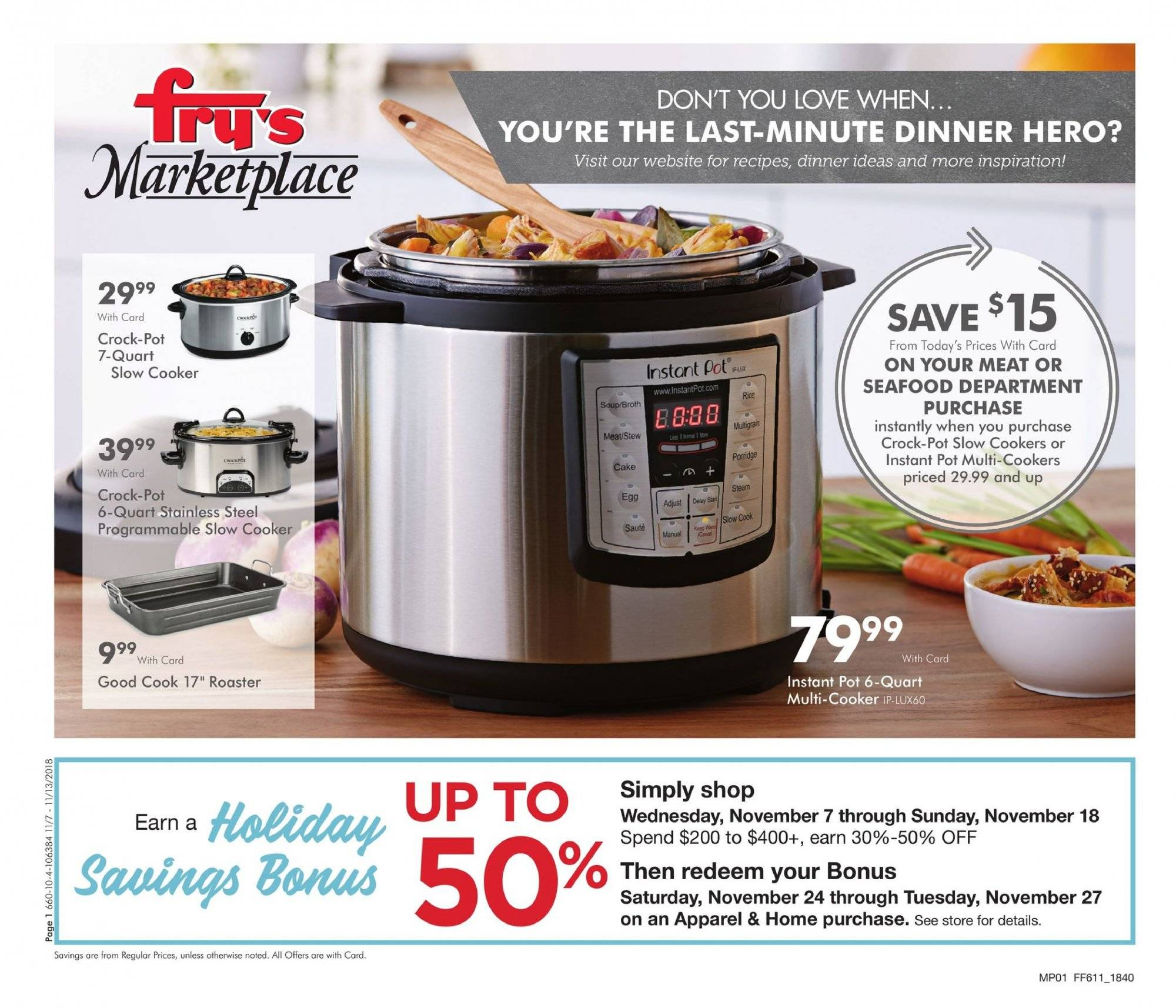 Fry's Flyer - 11.07.2018 - 11.13.2018 - Sales products - seafood, porridge, rice, pot, slow cooker, Instant Pot. Page 1.