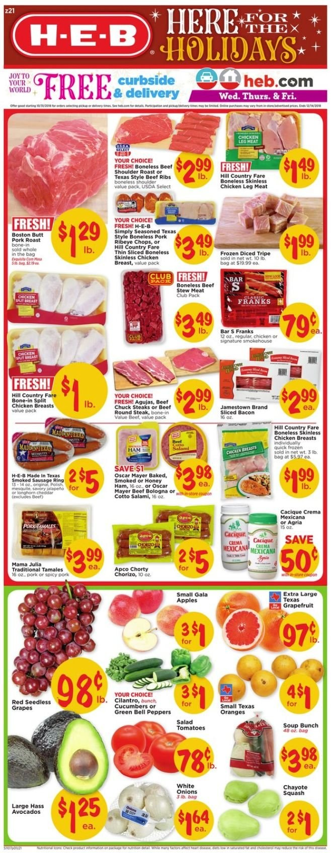 H-E-B Flyer  - 11.07.2018 - 11.13.2018. Page 1.