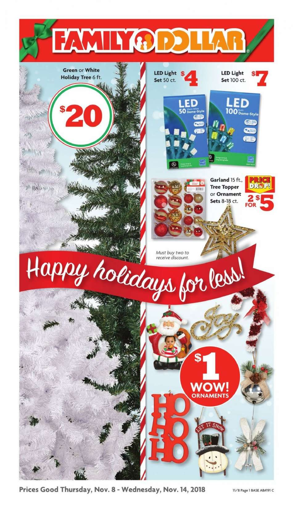 Family Dollar Christmas Trees.Family Dollar Flyer 11 08 2018 11 14 2018 Weekly Ads Us