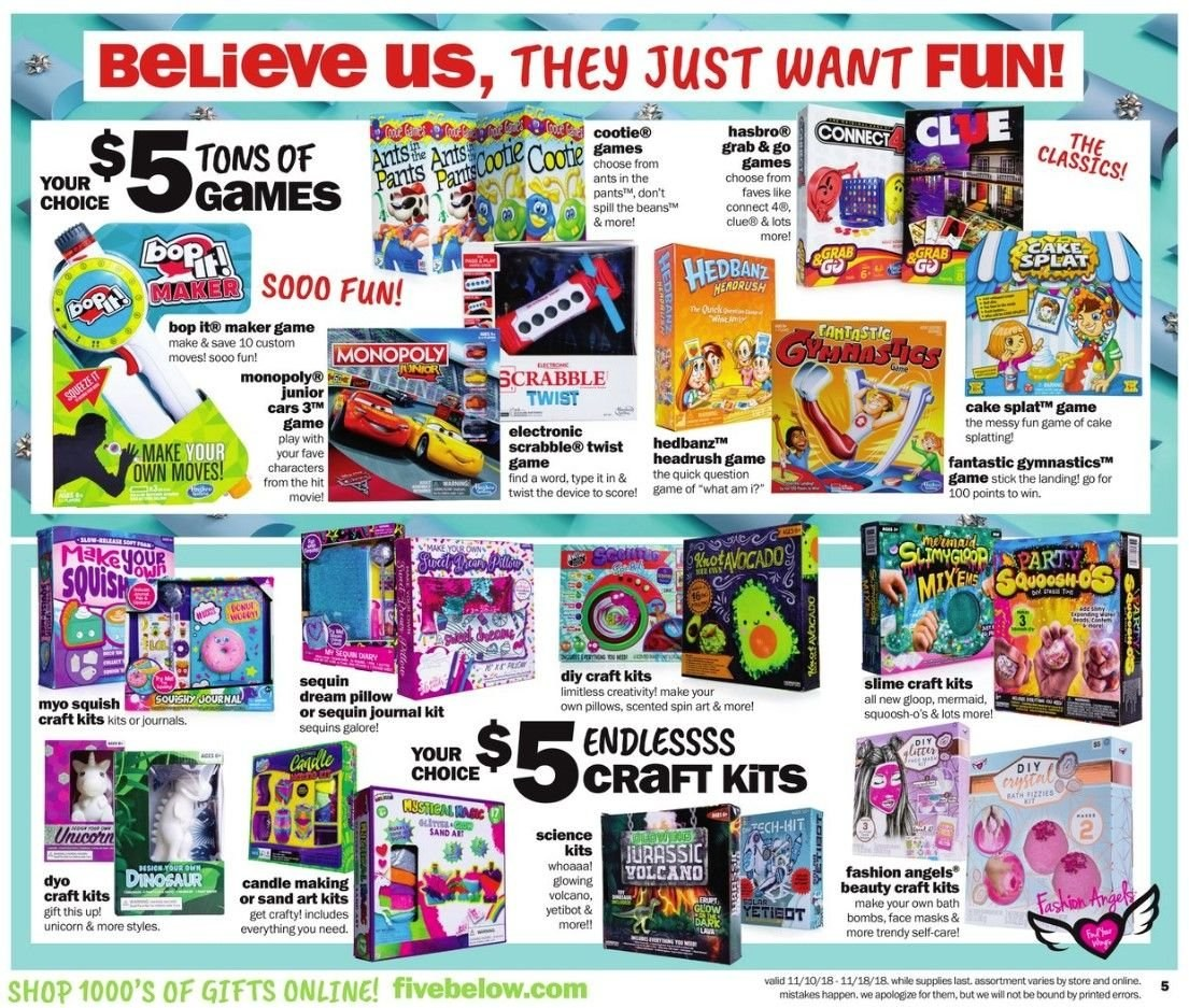 Five Below Flyer - 11.10.2018 - 11.18.2018 - Sales products - bath, beans, candle, monopoly, stick, pillow, quick. Page 5.