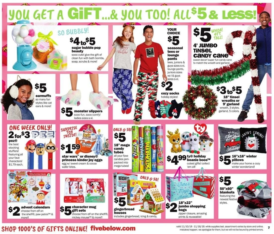 Five Below Flyer - 11.10.2018 - 11.18.2018 - Sales products - bag, bath, beanie, blanket, cocoa, cream, disney, earmuffs, eggs, elf, garland, gingerbread, mouse, mug, shelf, slippers, socks, stocking, sugar, tee, wreath, jam, pillow, pants. Page 7.