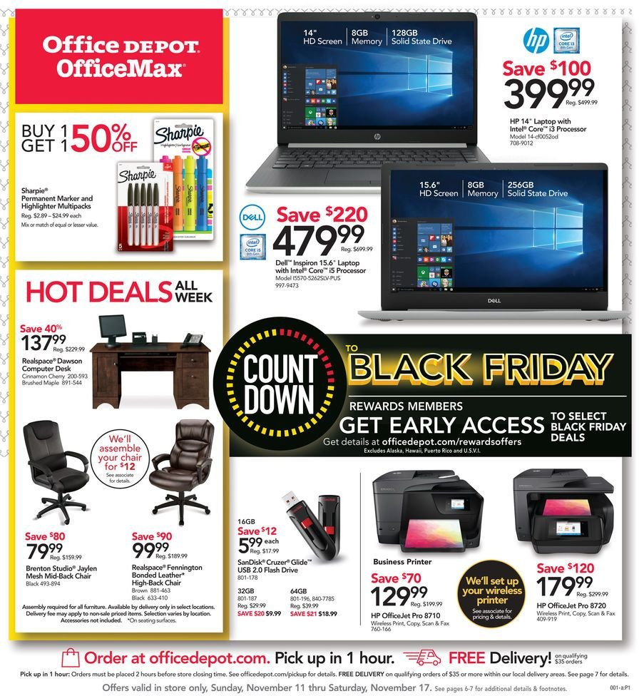 Office DEPOT Flyer  - 11.11.2018 - 11.17.2018. Page 1.
