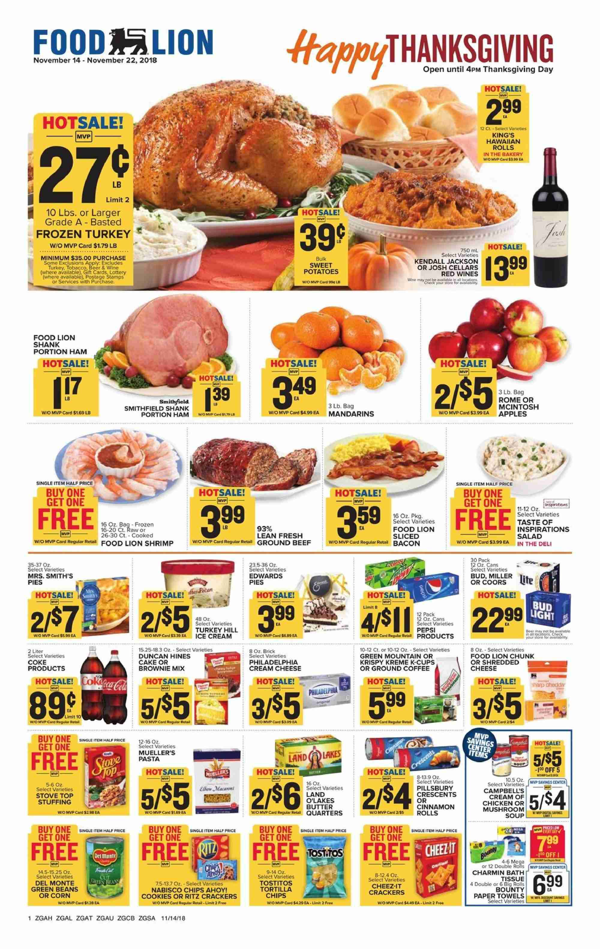 Food Lion Flyer  - 11.14.2018 - 11.22.2018. Page 1.