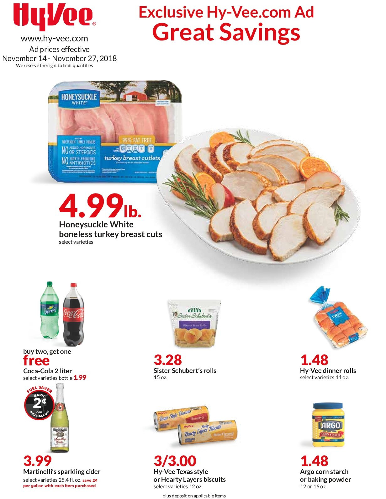 Hy-Vee Flyer  - 11.14.2018 - 11.27.2018. Page 1.