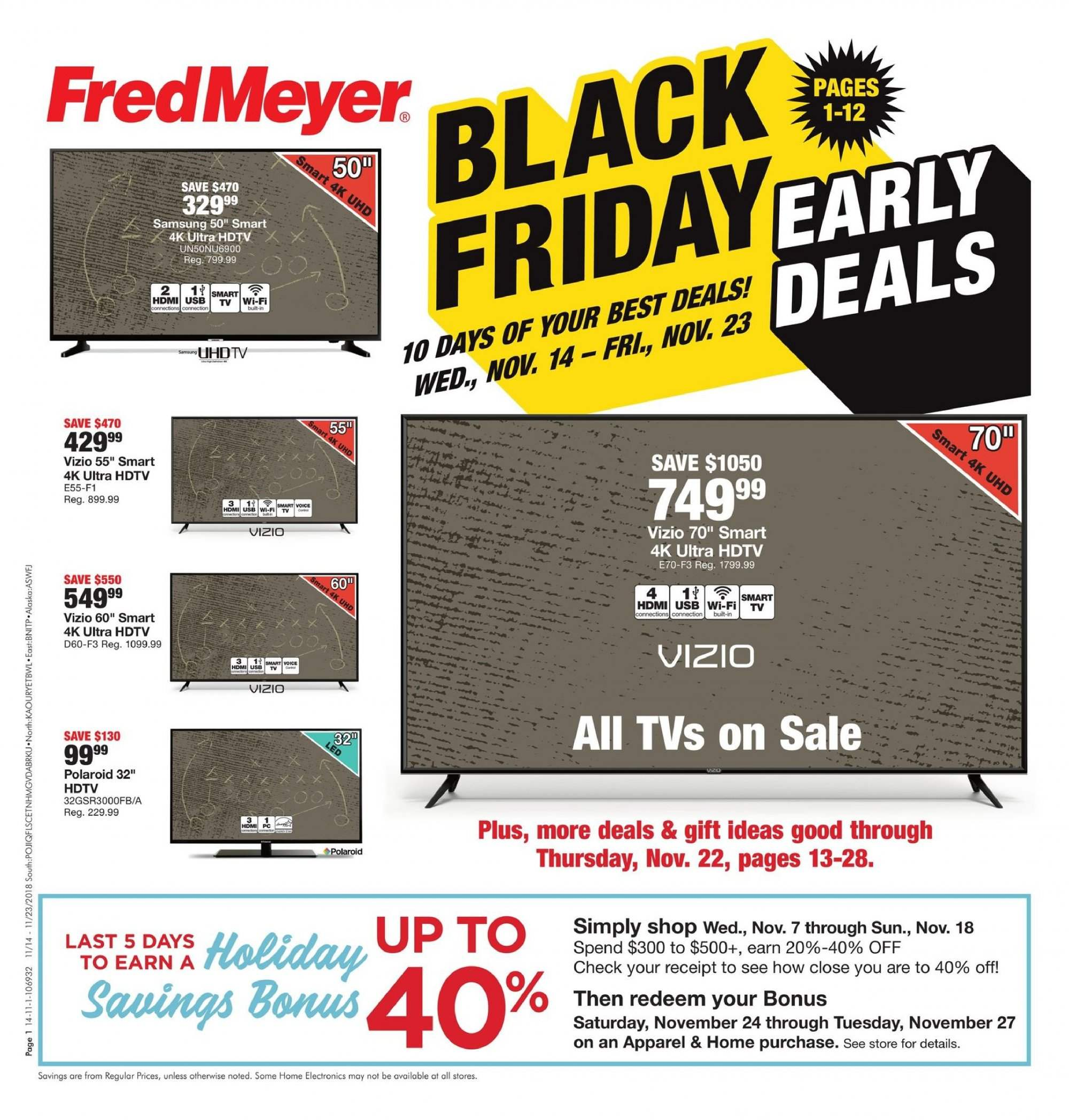 Fred Meyer Flyer  - 11.14.2018 - 11.23.2018. Page 1.