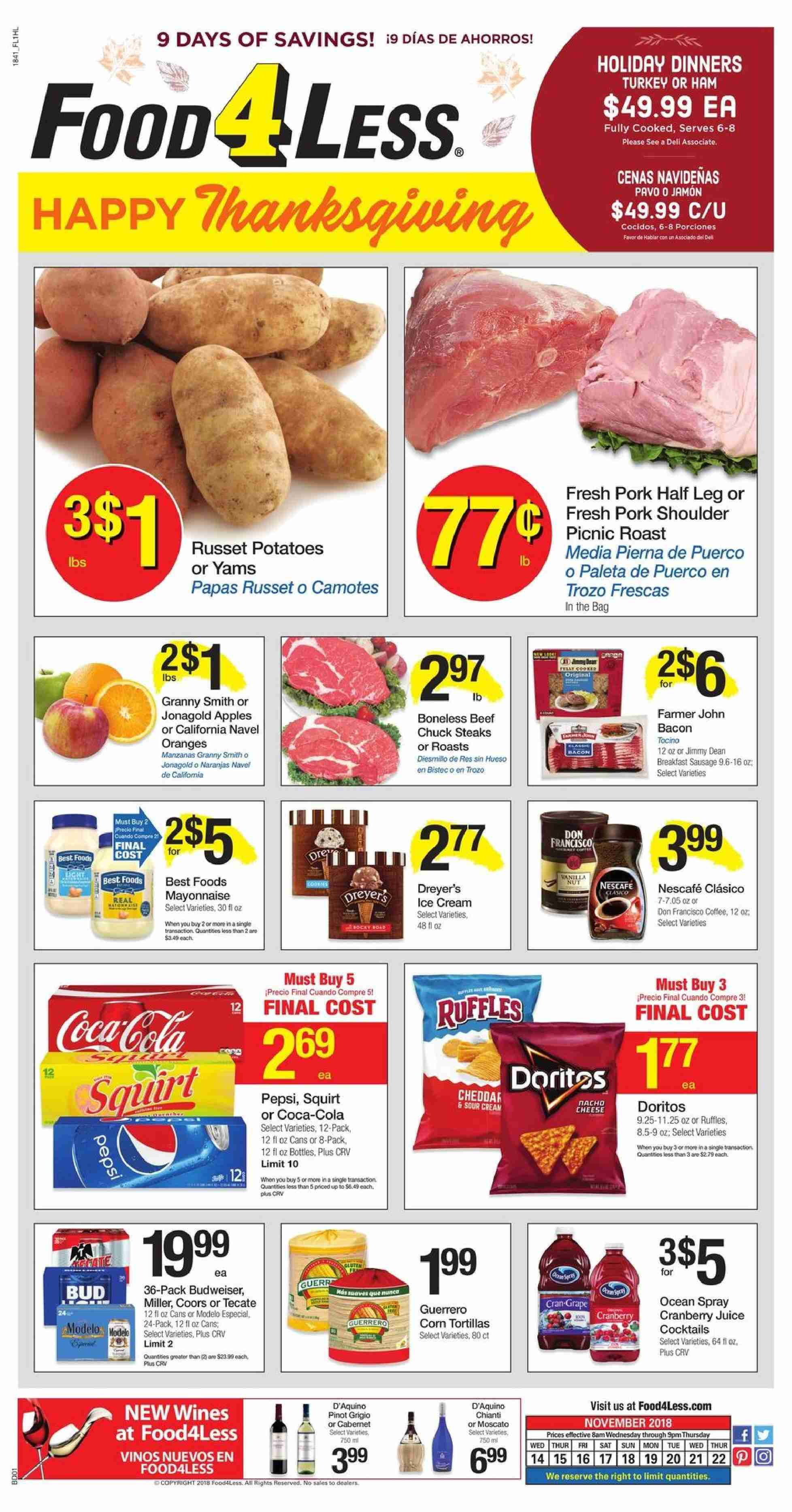 Food 4 Less Flyer  - 11.14.2018 - 11.22.2018. Page 1.