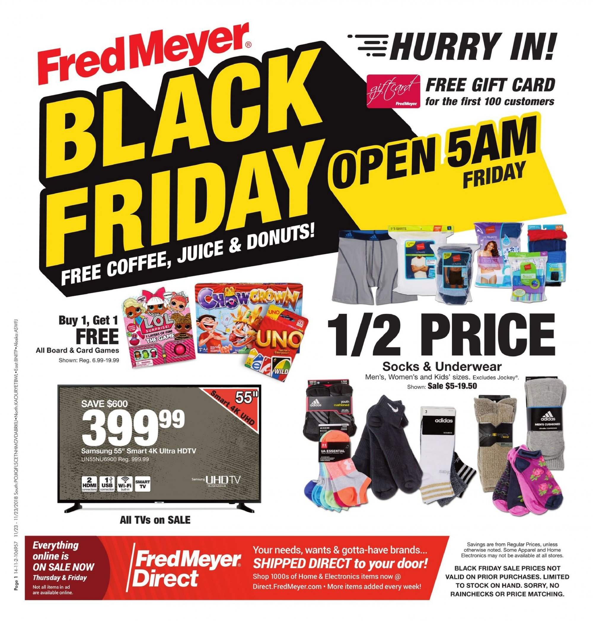 Fred Meyer Flyer - 11.23.2018 - 11.23.2018 - Sales products - donut, juice, coffee, Adidas, Samsung, HDTV, TV. Page 1.
