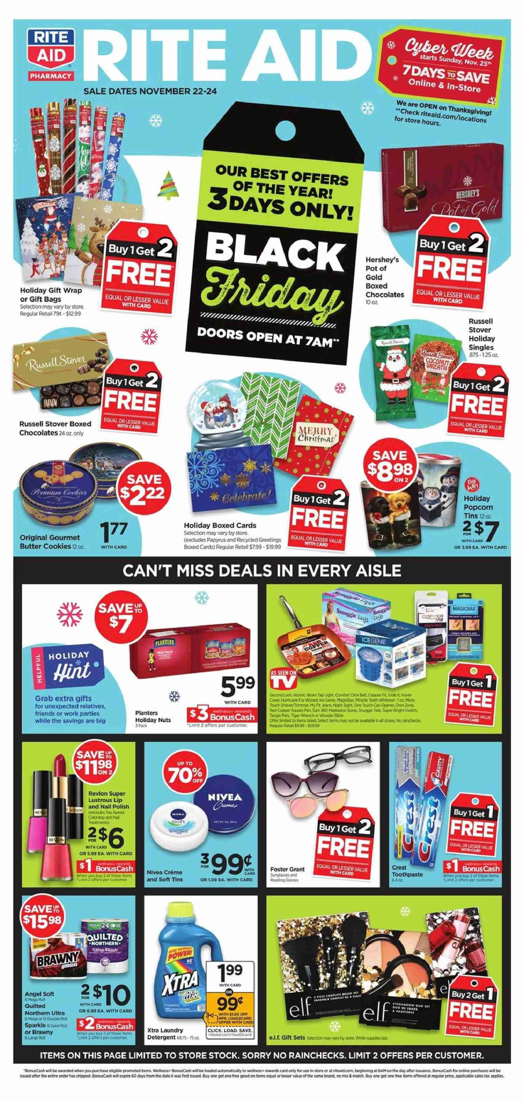 RITE AID Flyer - 11.22.2018 - 11.24.2018 - Sales products - wrap, cookies, butter cookies, nuts, Nivea, detergent, Revlon, pan. Page 1.