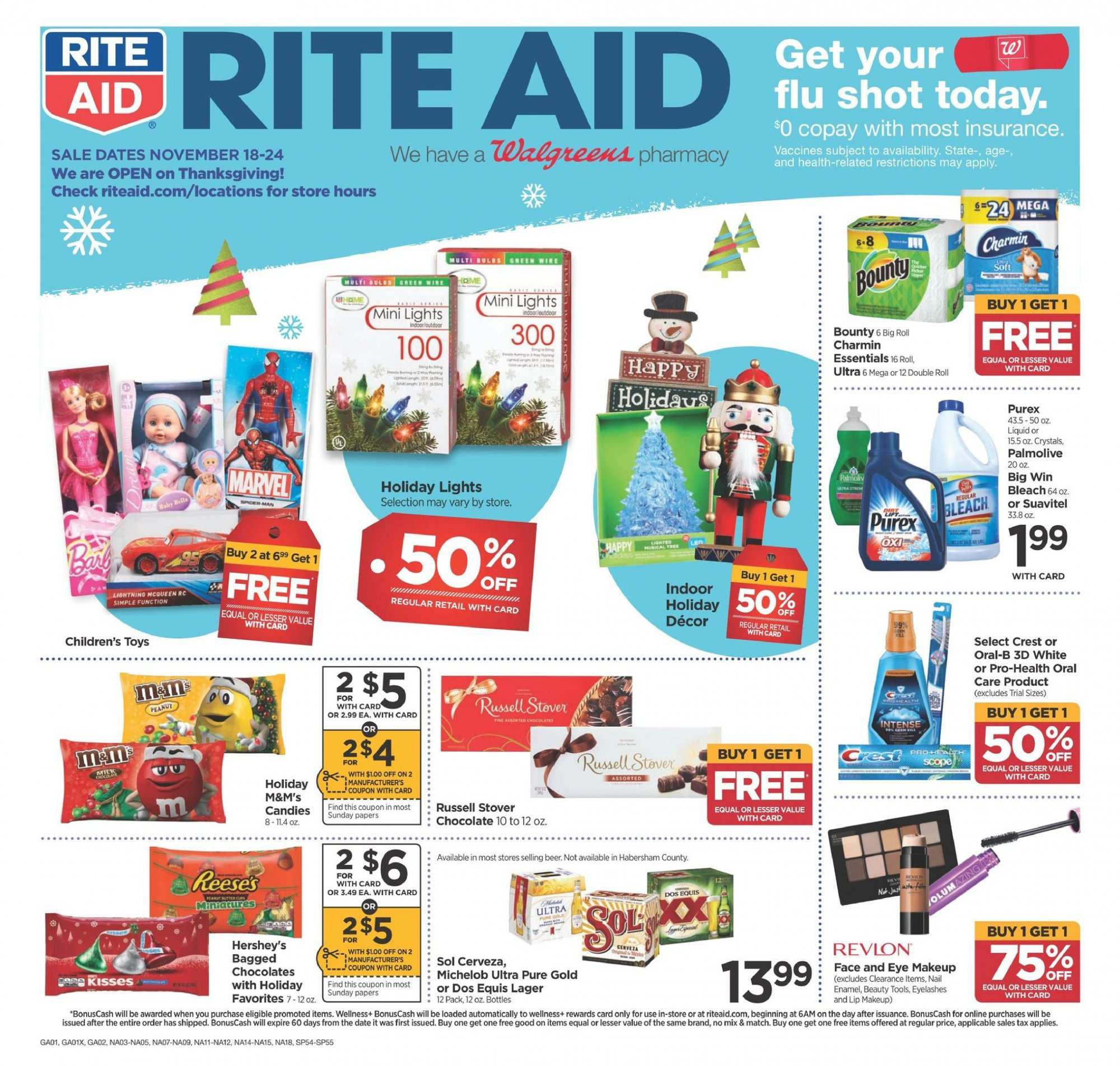 RITE AID Flyer - 11.18.2018 - 11.24.2018 - Sales products - beer, crest, dates, makeup, revlon, oral-b, chocolate. Page 1.