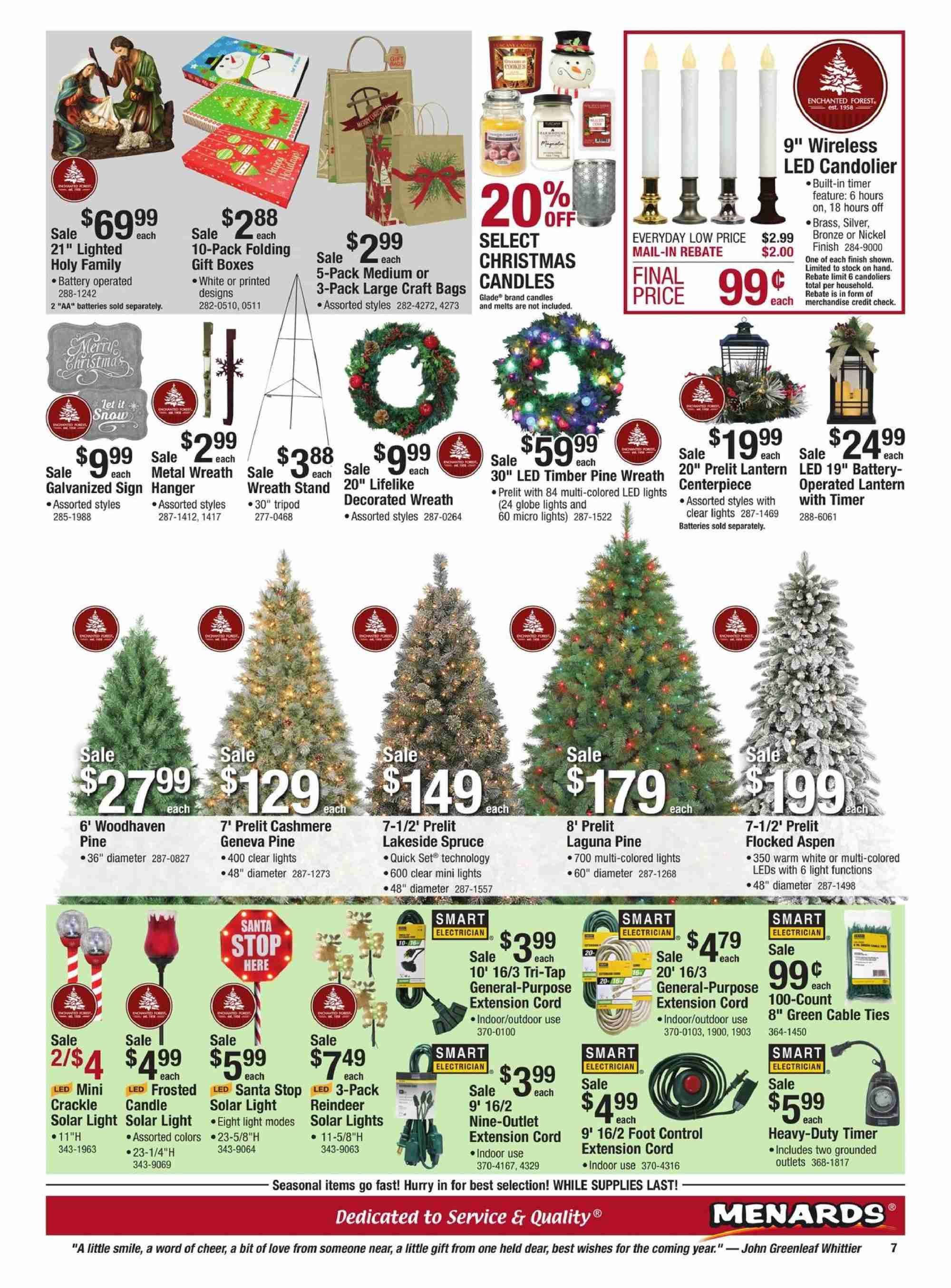 Menards Flyer - 11.18.2018 - 12.01.2018 - Sales products - bag, battery, box, extension cord, led light, reindeer, santa, solar light, stand, timer, tripod, wreath, pine, quick. Page 7.