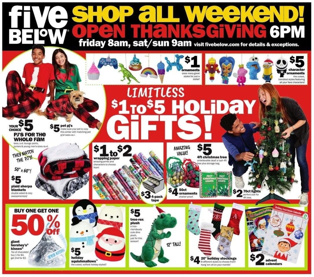 Five Below Flyer - 11.22.2018 - 11.25.2018 - Sales products - bag, sherpa, squishmallow, squishmallows, stockings, storage, tape, tee, tree, christmas tree, pet, ps+, pants, ornament, chocolate. Page 3.