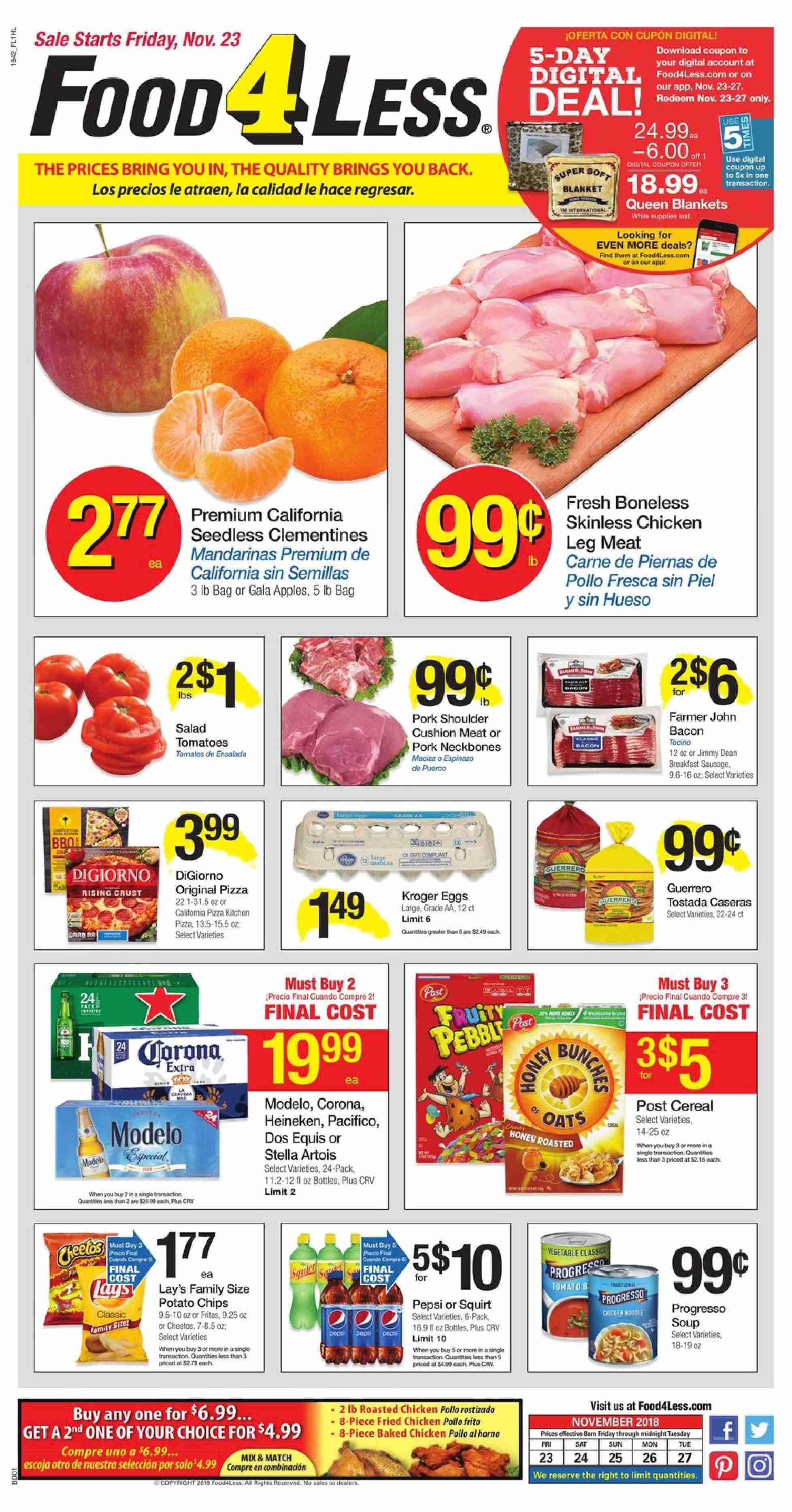 Food 4 Less Flyer  - 11.23.2018 - 11.27.2018. Page 1.