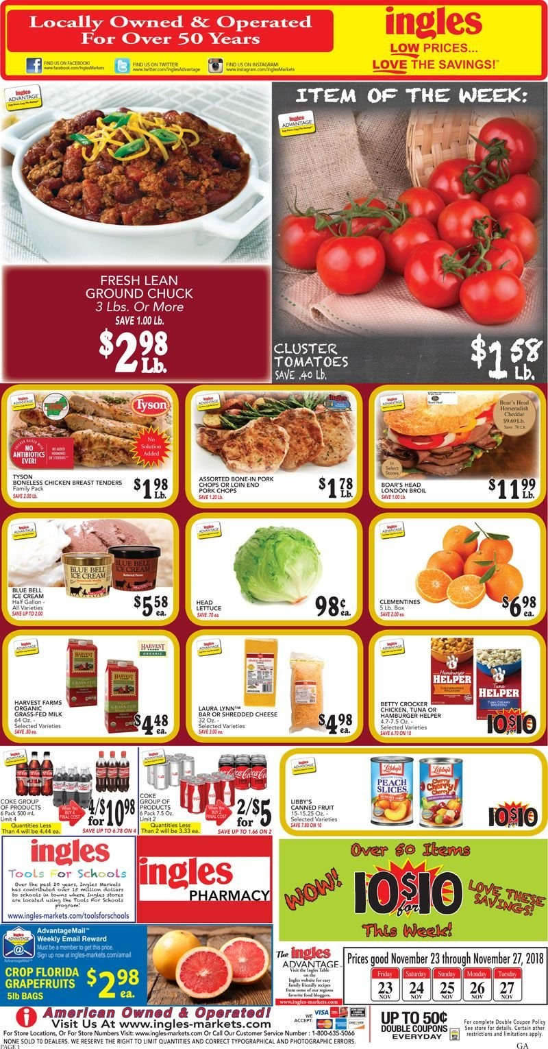 Ingles Flyer  - 11.23.2018 - 11.27.2018. Page 1.