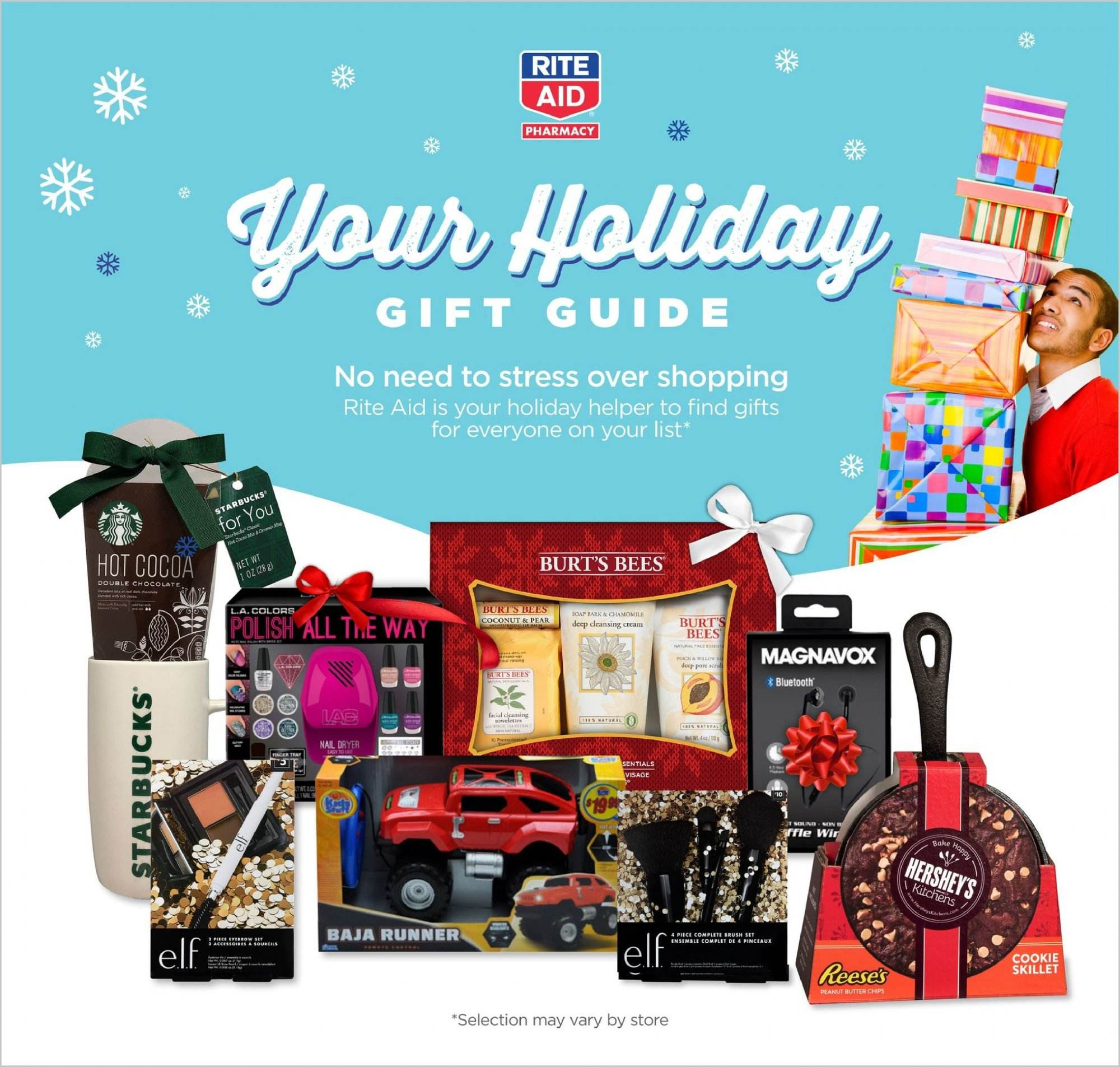 RITE AID Flyer - 11.25.2018 - 12.25.2018 - Sales products - bluetooth, butter, cocoa, dryer, elf, tray, polish, peanut butter, peanuts, chips. Page 1.