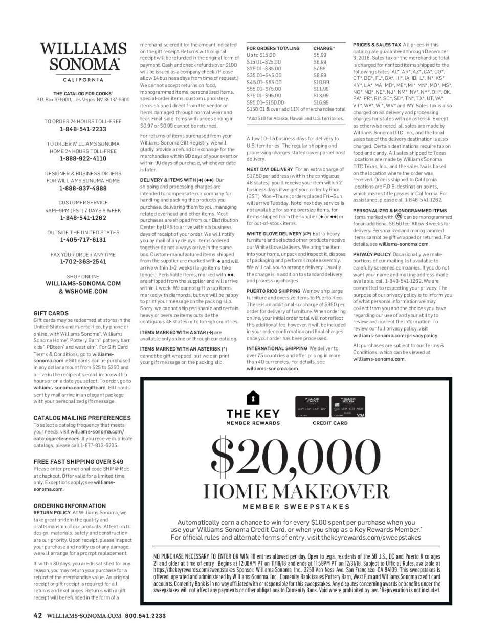 Williams-Sonoma flyer 12 01 2018 - 12 31 2018 | Weekly-ads us