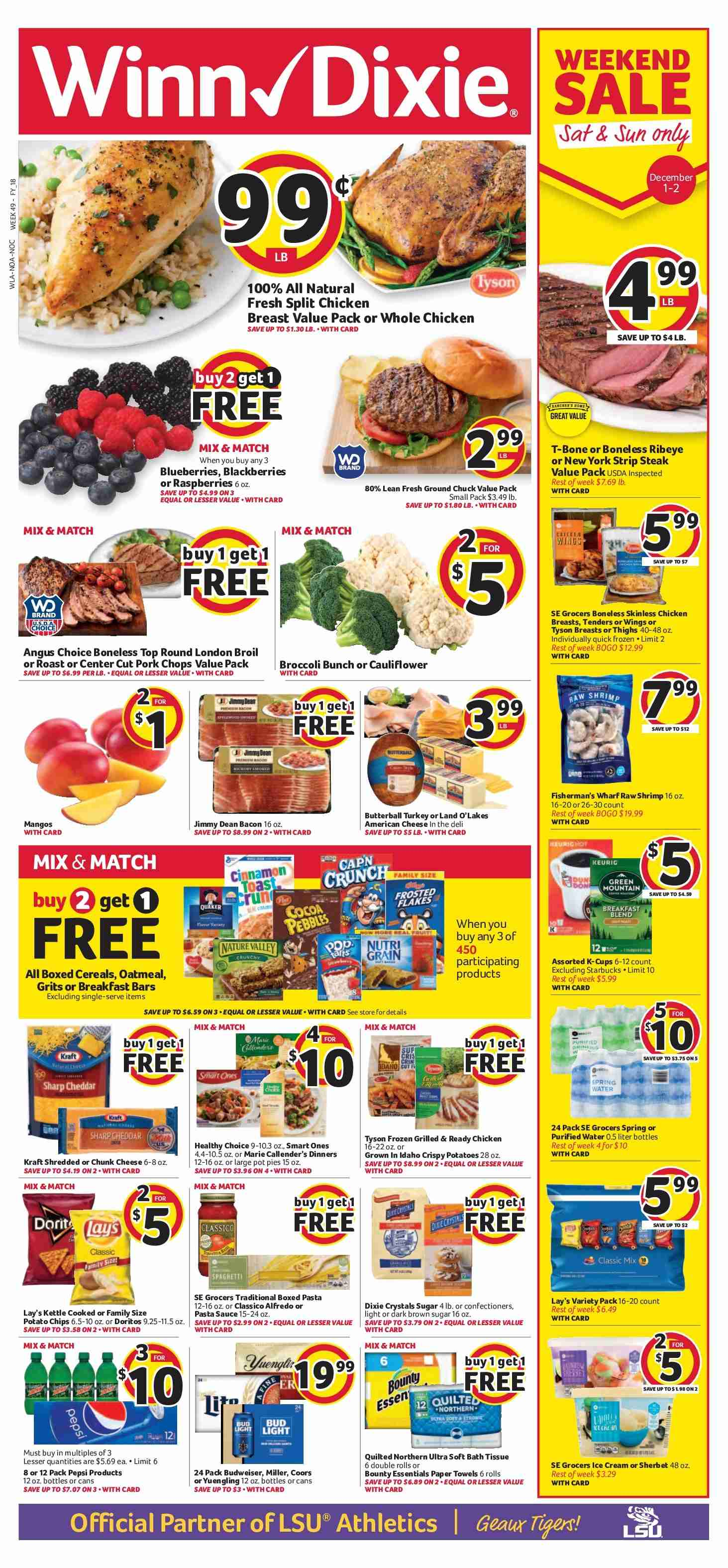 Winn Dixie Flyer - 11.28.2018 - 12.04.2018 - Sales products - Budweiser, Coors, Yuengling, broccoli, cauliflower, potatoes, mango, rolls, pot pies, Butterball, turkey, whole chicken, chicken, chicken breast, steak, ground chuck, pork chops, pork meat, shrimps, bacon, cheese, sauce, ice cream, sherbet, Bounty, Doritos, potato chips, chips, Lay's, cereals, oatmeal, alfredo sauce, pasta sauce, Pepsi, water, bath tissue, paper towel, Quilted Northern, Starbucks, essentials. Page 1.